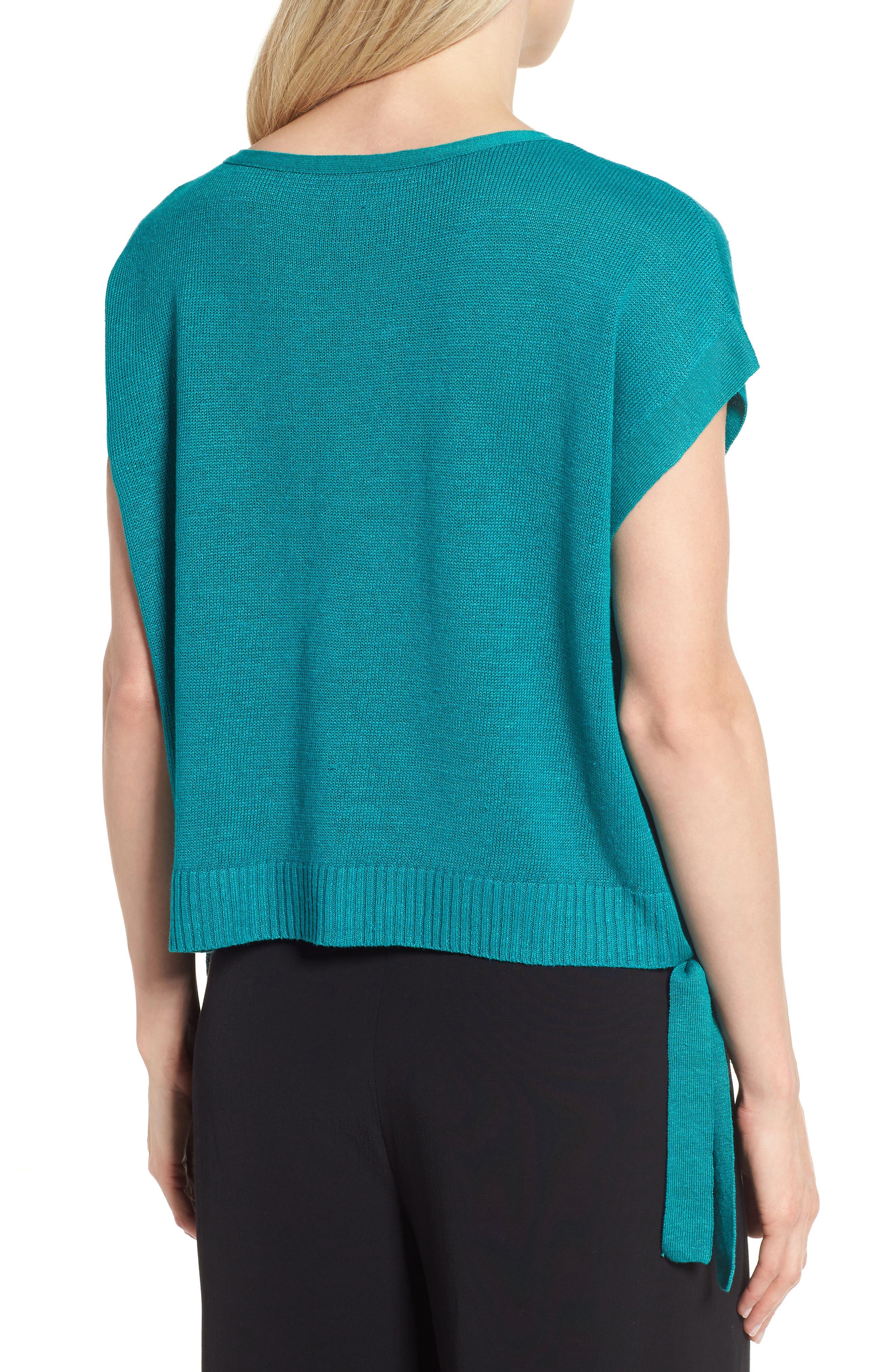 Short Organic Linen Poncho Top,                             Alternate thumbnail 9, color,