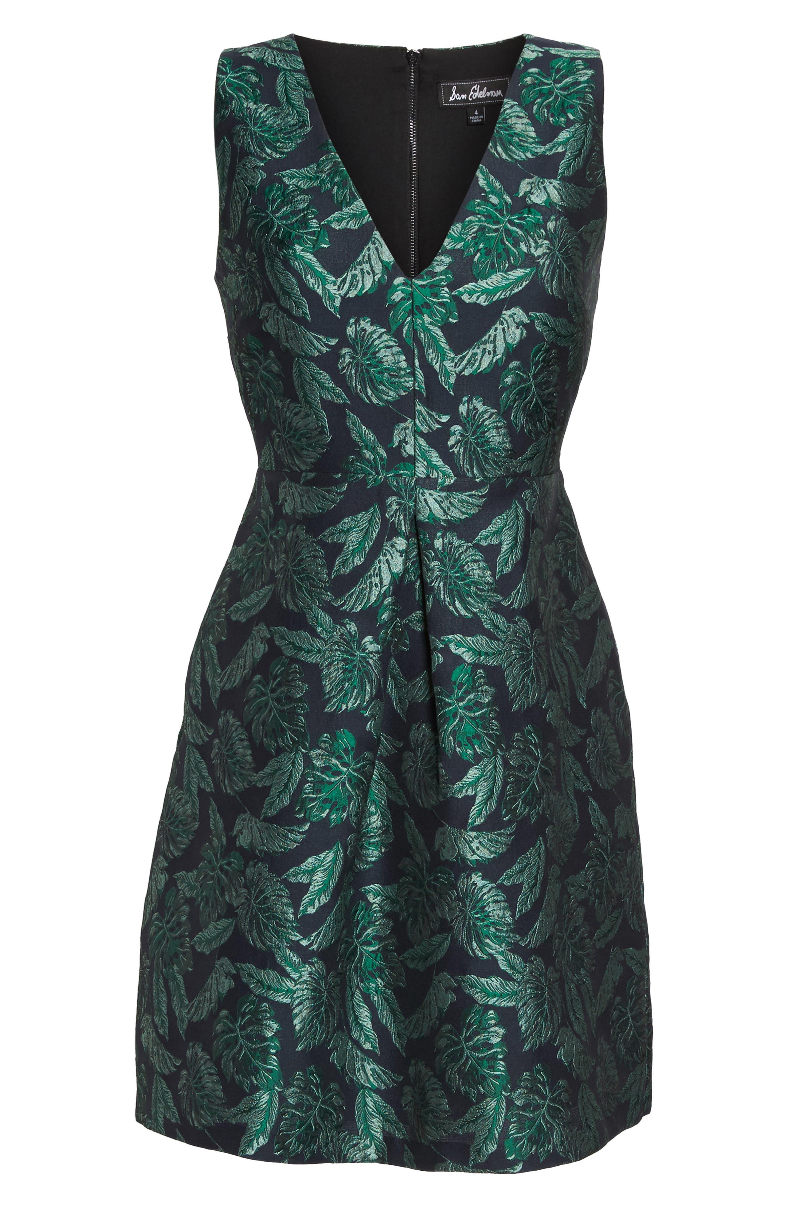Palm Jacquard A-Line Dress,                             Alternate thumbnail 6, color,                             BLUE/ GREEN