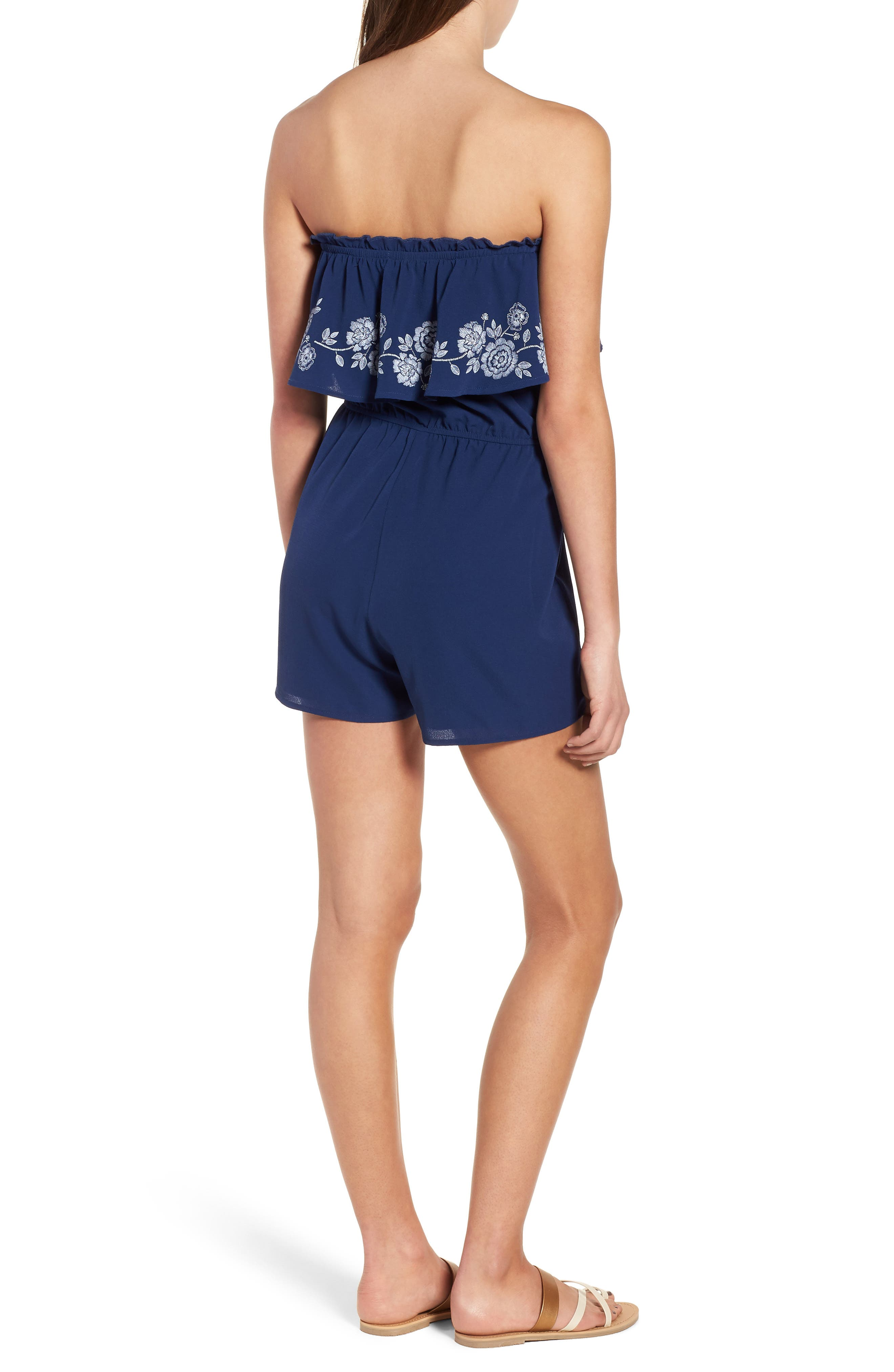 Embroidered Strapless Romper,                             Alternate thumbnail 3, color,