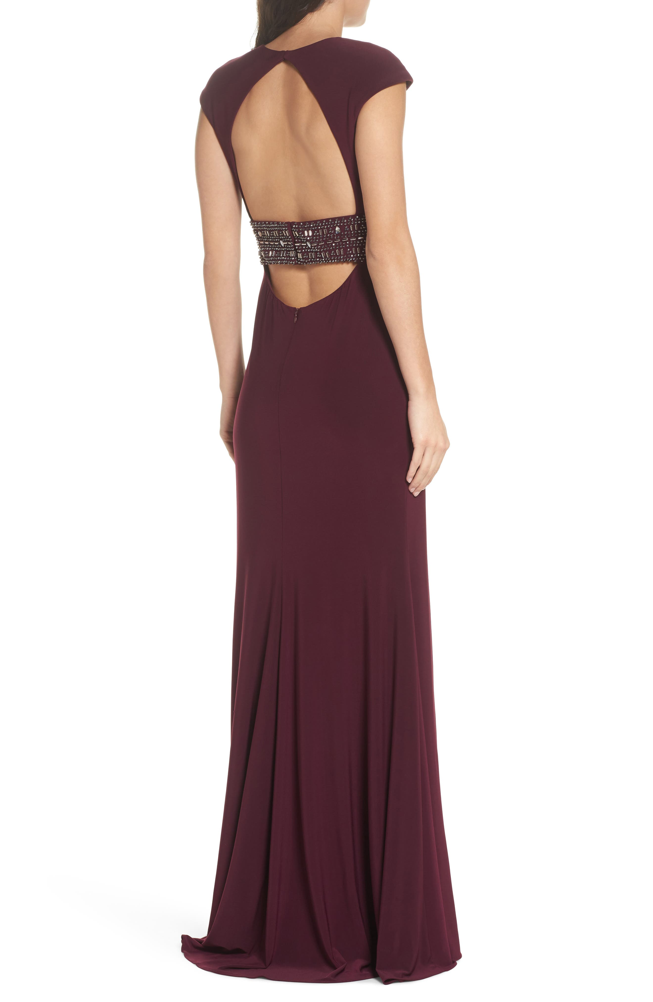Bead Embellished Cap Sleeve Gown,                             Alternate thumbnail 2, color,                             930