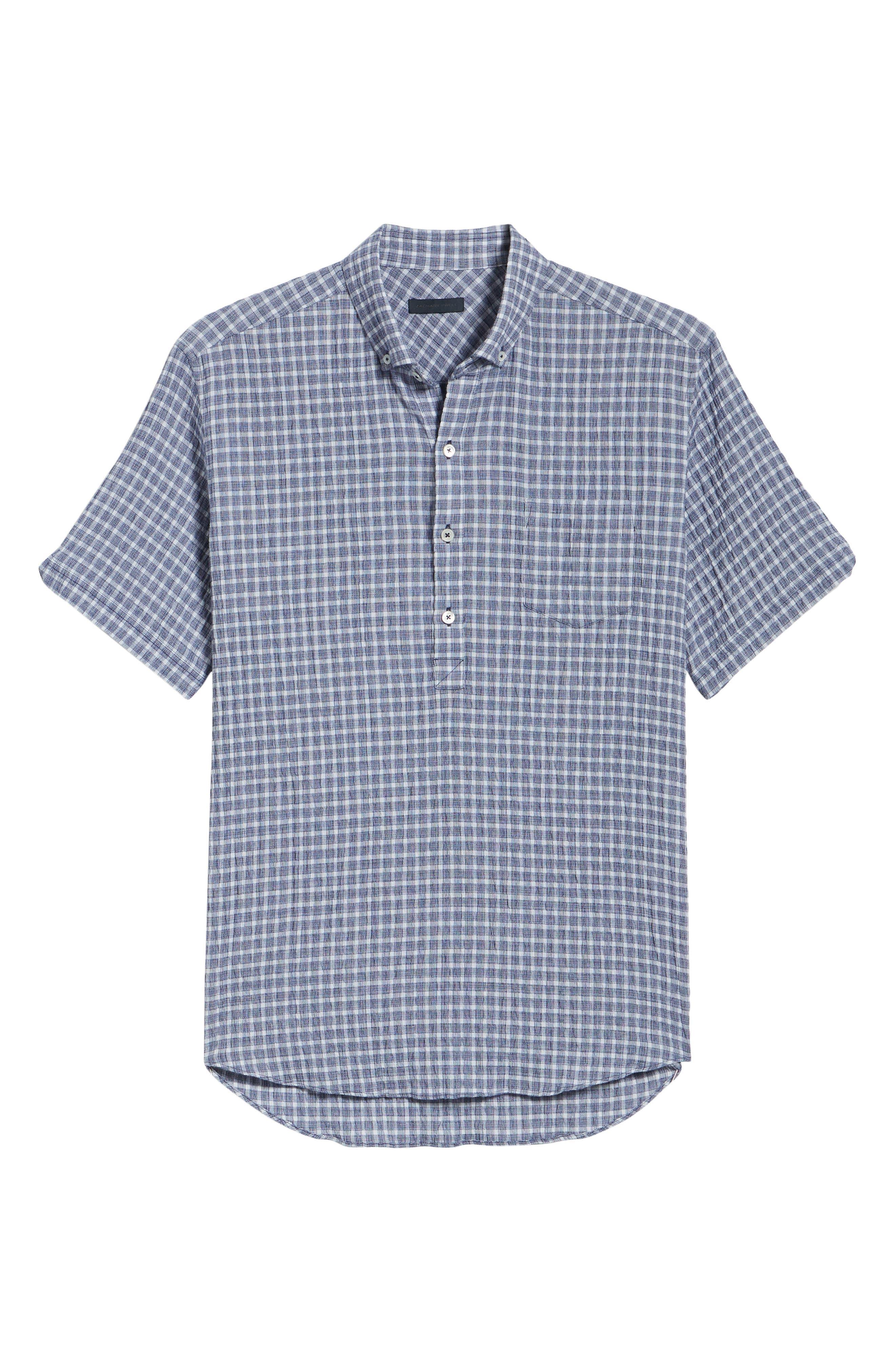 Nicomini Trim Fit Plaid Popover Sport Shirt,                             Alternate thumbnail 6, color,                             411