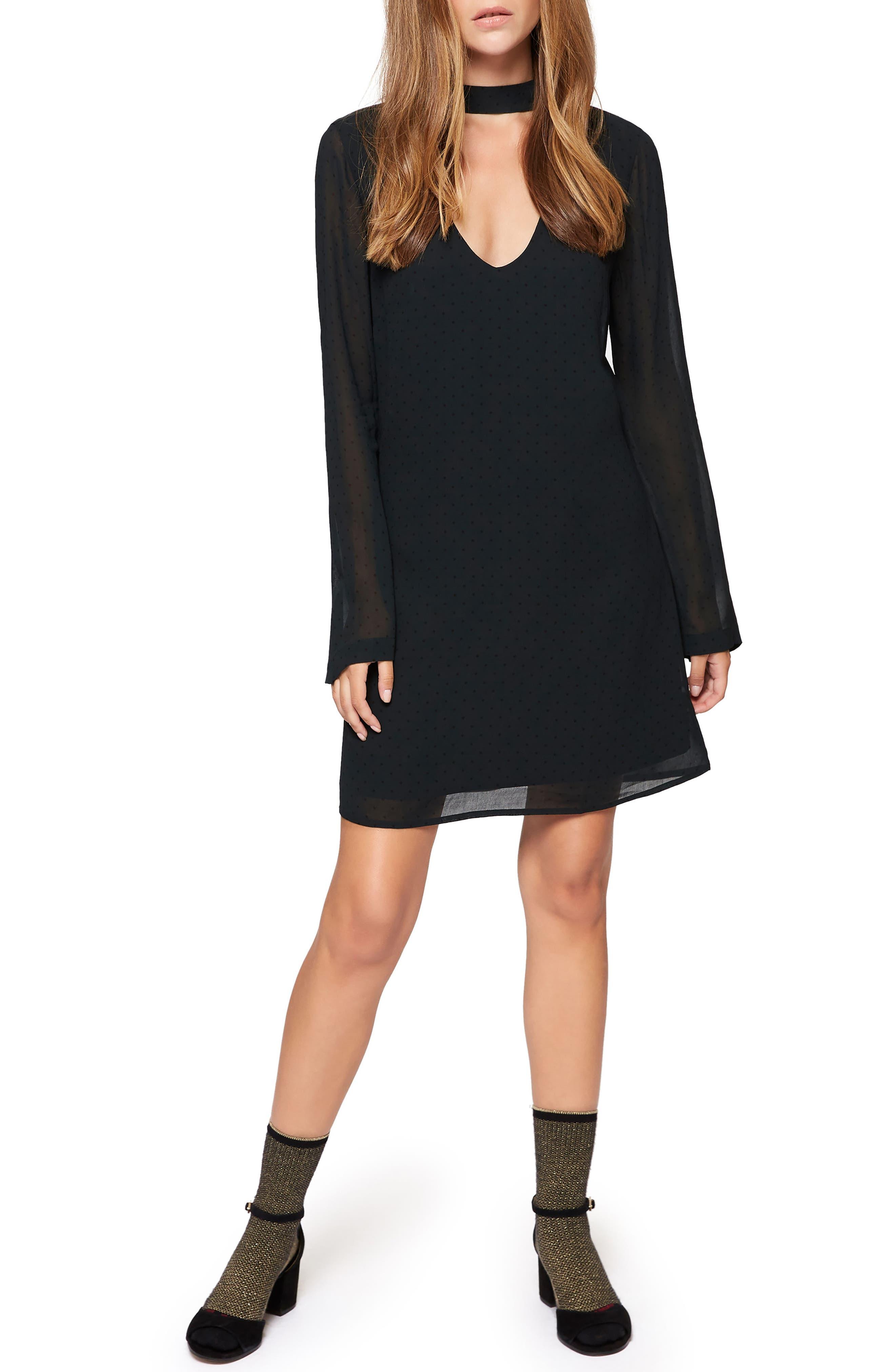 Choker Long Sleeve Shift Dress,                         Main,                         color, 301