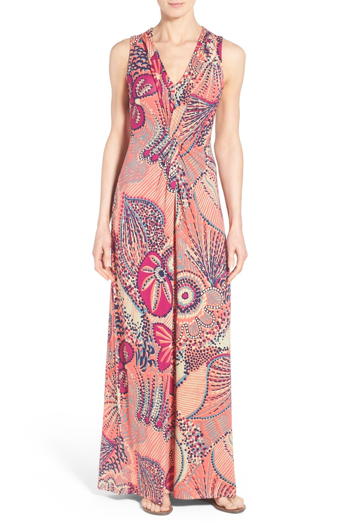 'Carnival Lights' Print V-Neck Maxi Dress, Main, color, 950