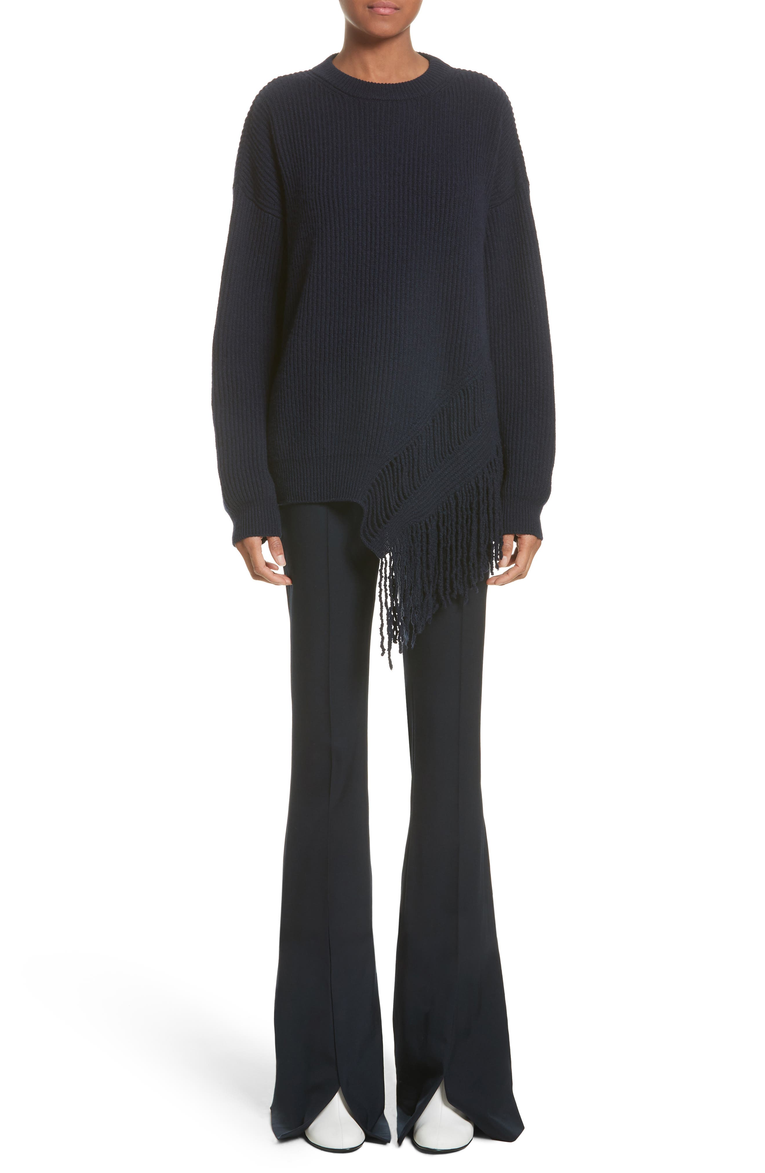 Cashmere & Wool Fringe Sweater,                             Alternate thumbnail 6, color,                             410
