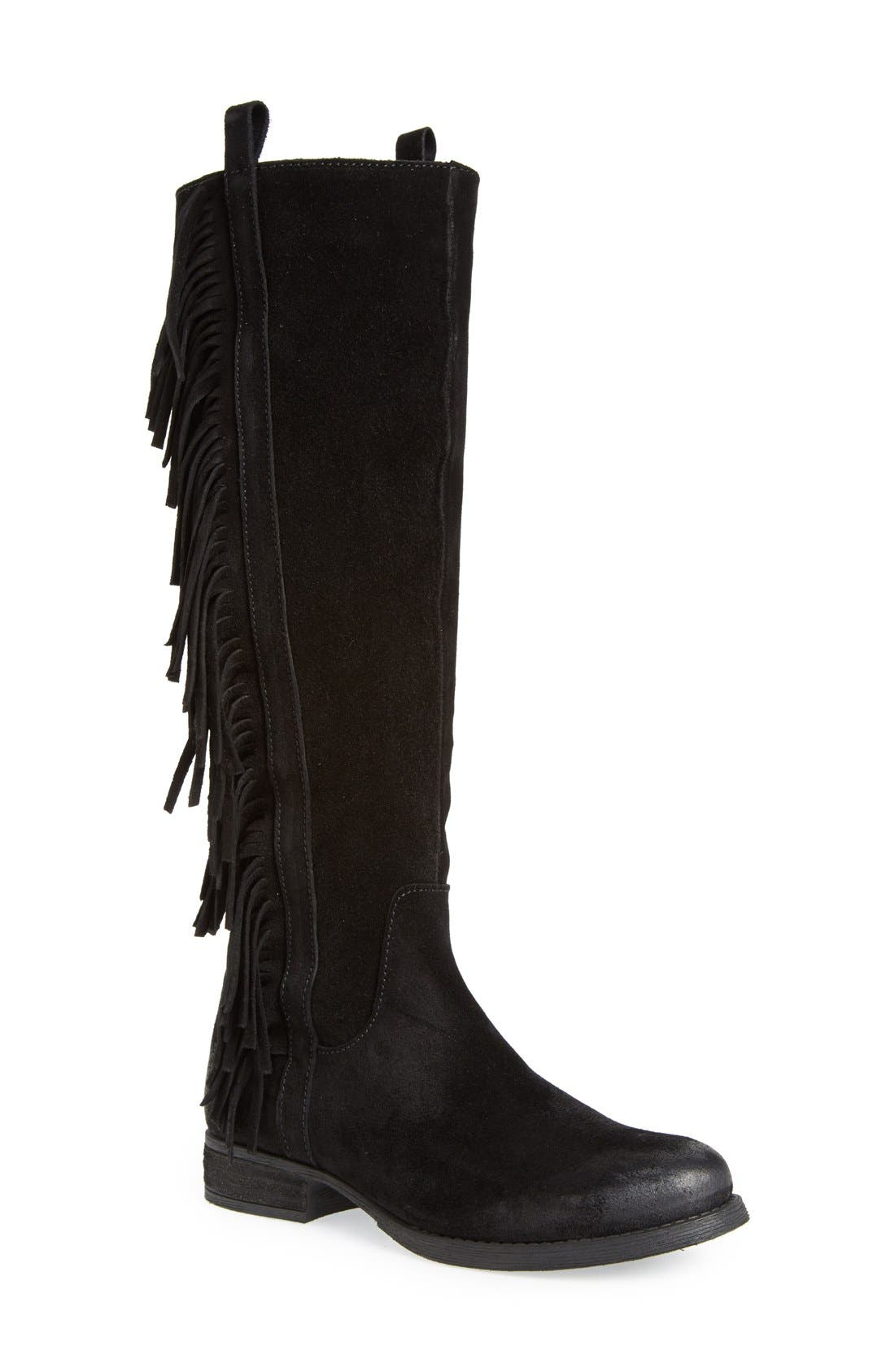 STEVEN BY STEVE MADDEN Steven by Steve Madden 'Dallton' Tall Fringe Boot, Main, color, 006