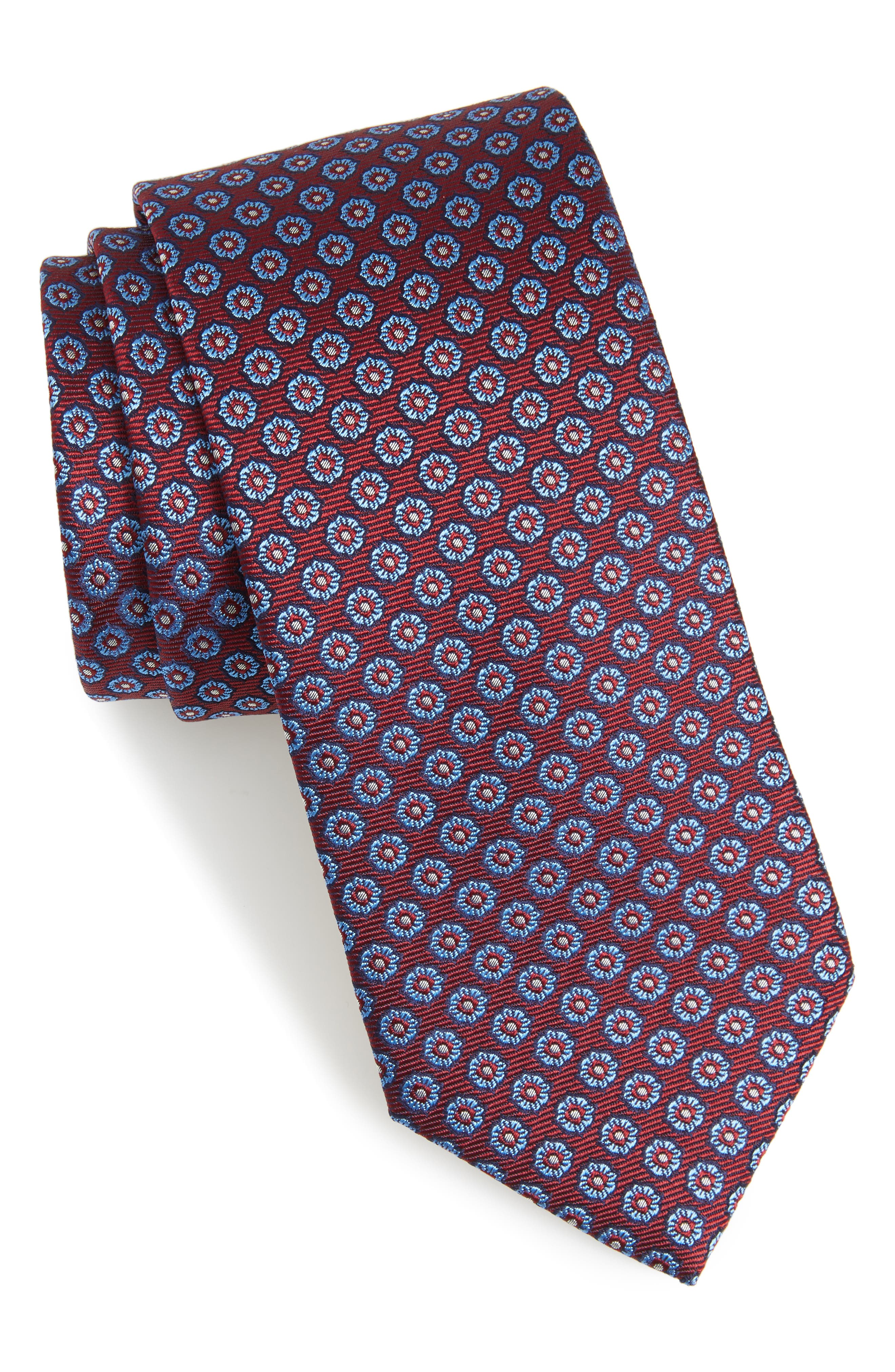 Floral Medallion Silk Tie,                             Main thumbnail 3, color,
