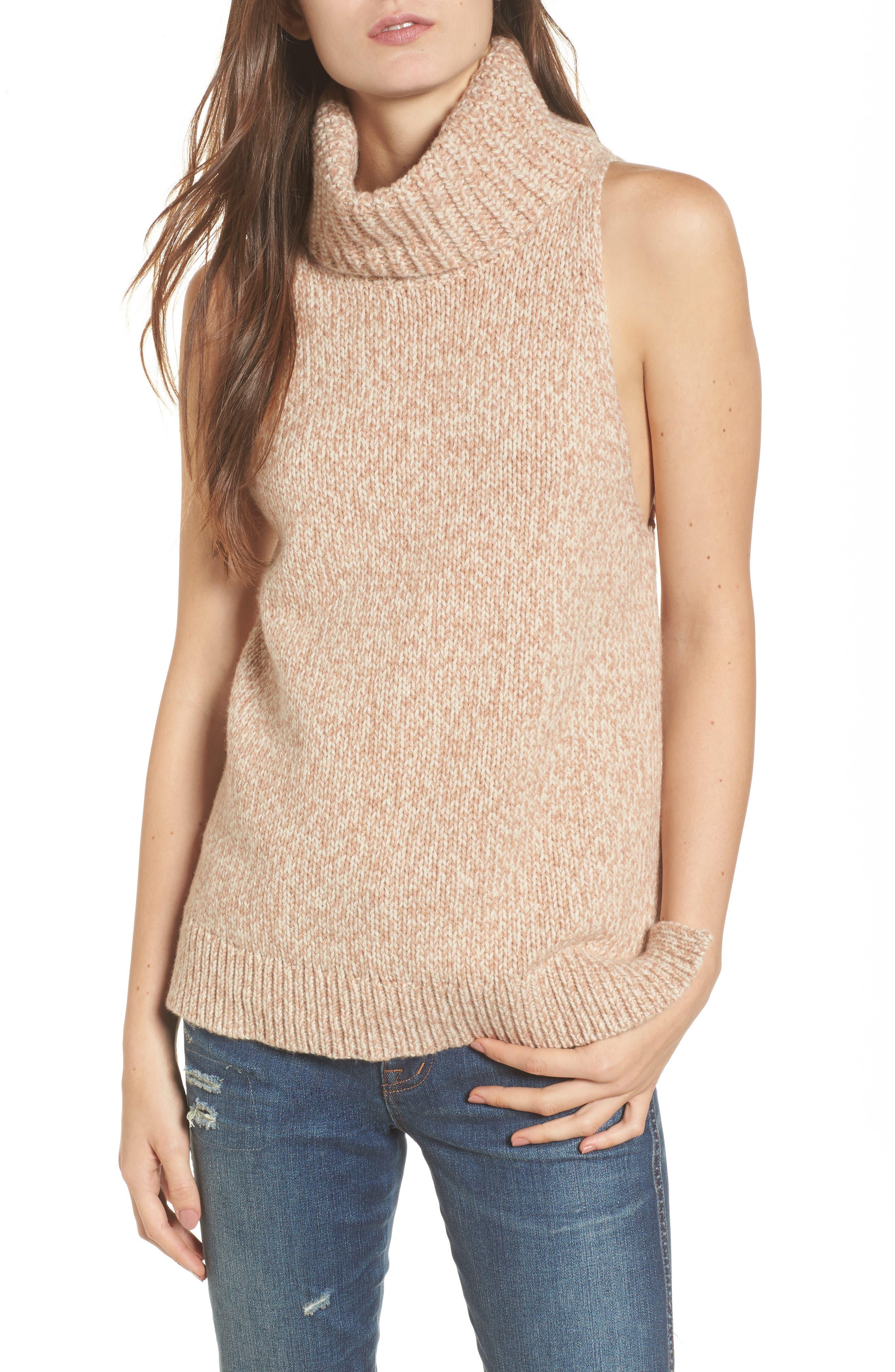 Marled Sleeveless Turtleneck Sweater,                             Main thumbnail 1, color,                             201
