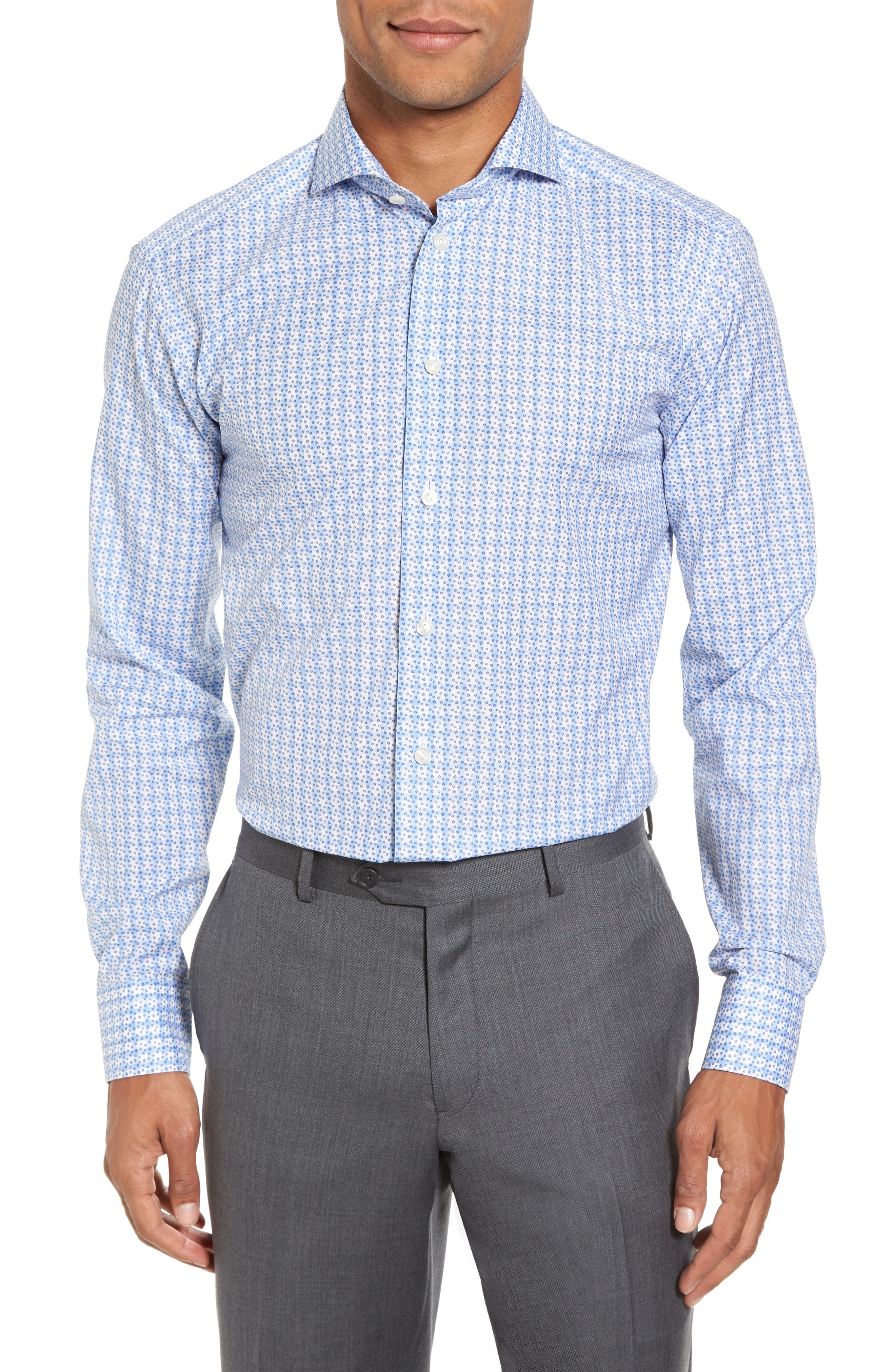 Slim Fit Geometric Dress Shirt,                             Main thumbnail 1, color,                             400