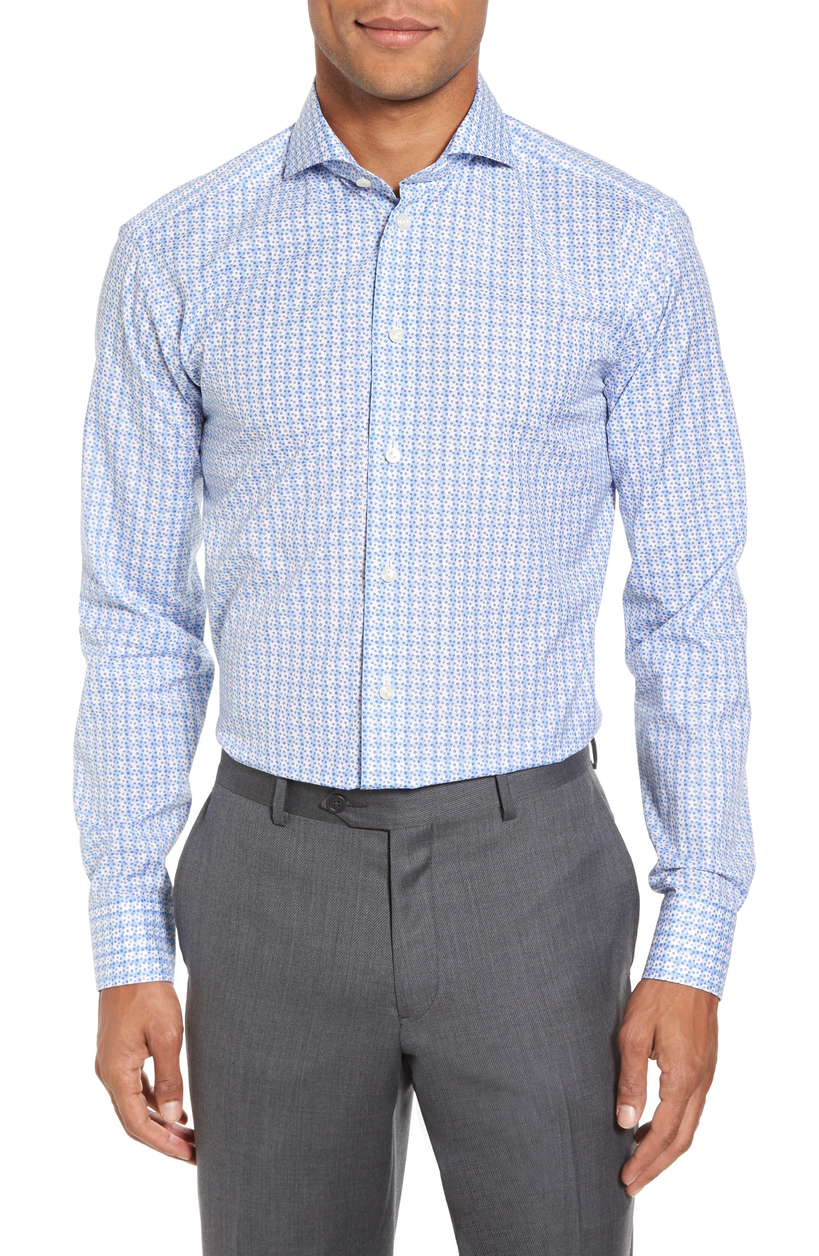 Slim Fit Geometric Dress Shirt,                         Main,                         color, 400