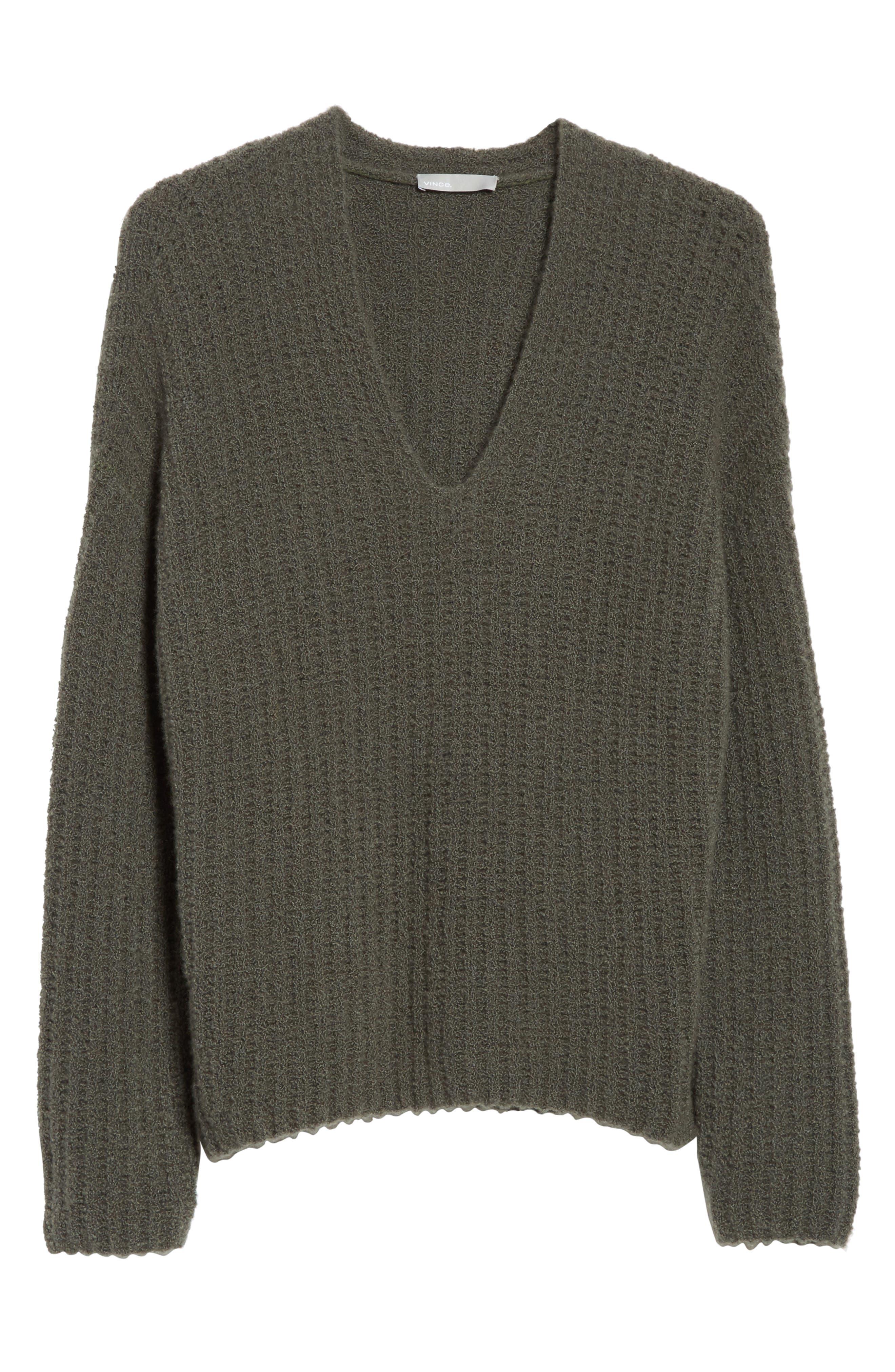 Deep V-Neck Cashmere Blend Sweater,                             Alternate thumbnail 17, color,