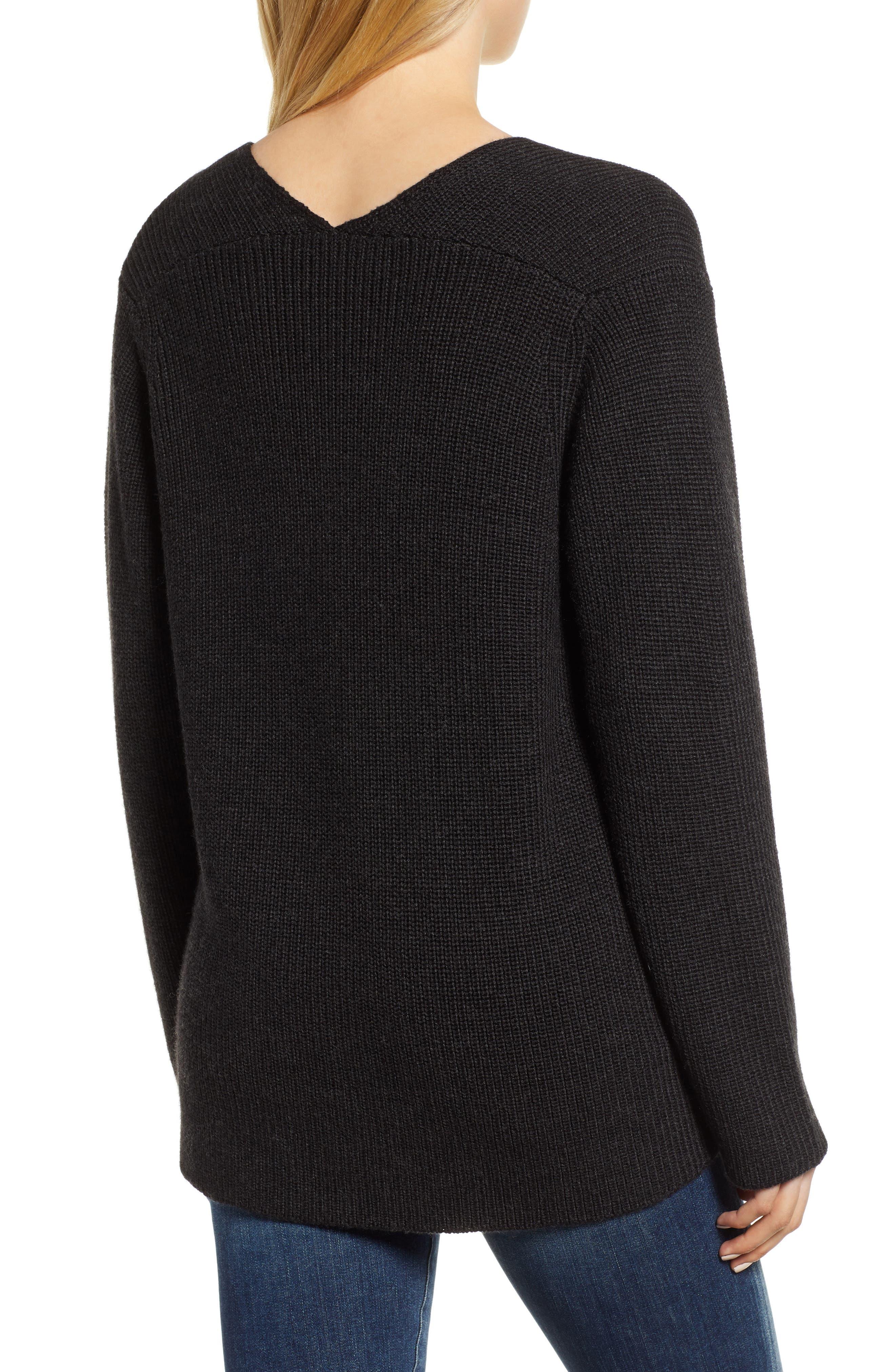 V-Neck Sweater,                             Alternate thumbnail 2, color,                             COAL