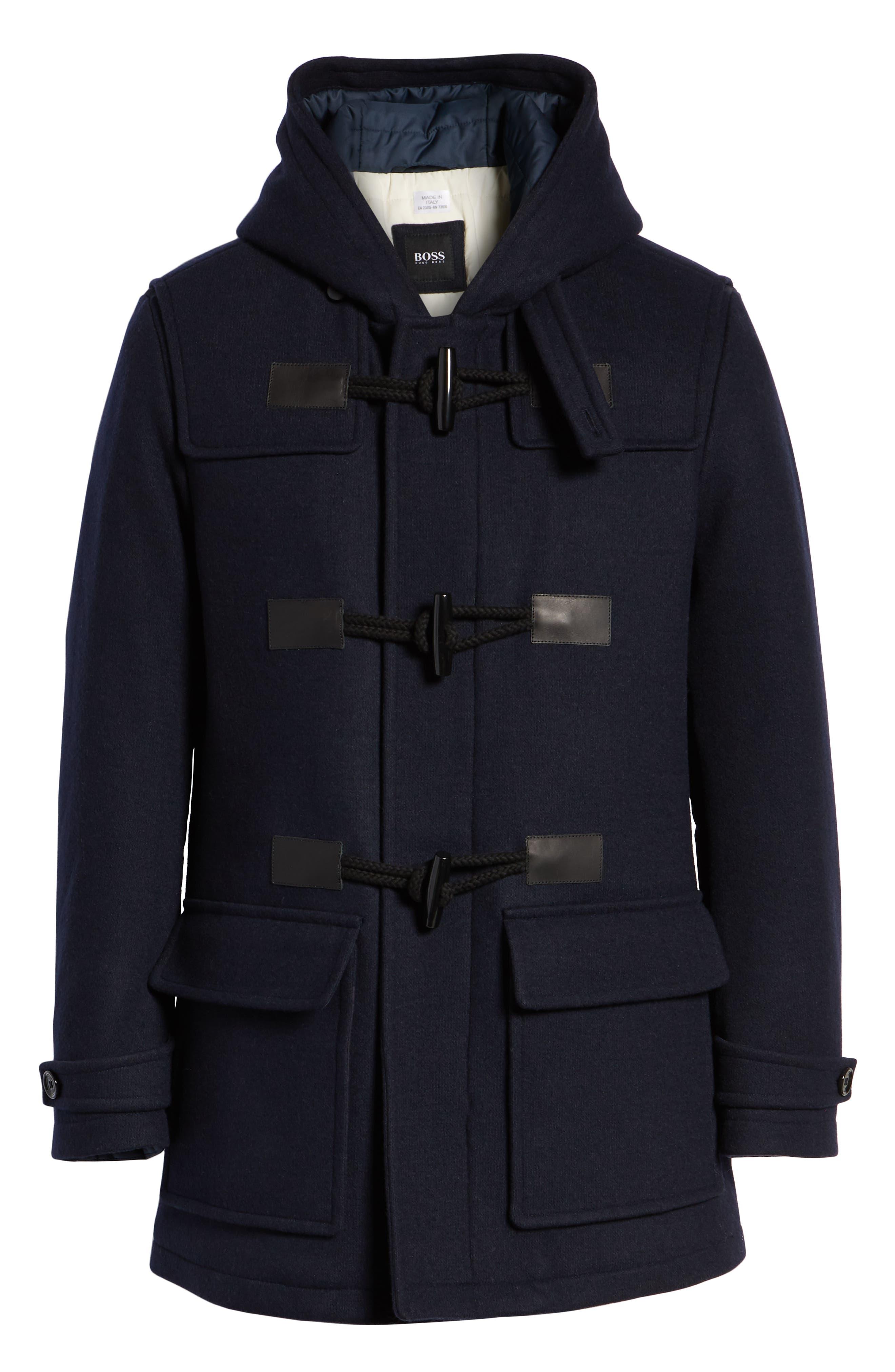 Casil Mixed Media Duffle Coat,                             Alternate thumbnail 5, color,                             BLUE