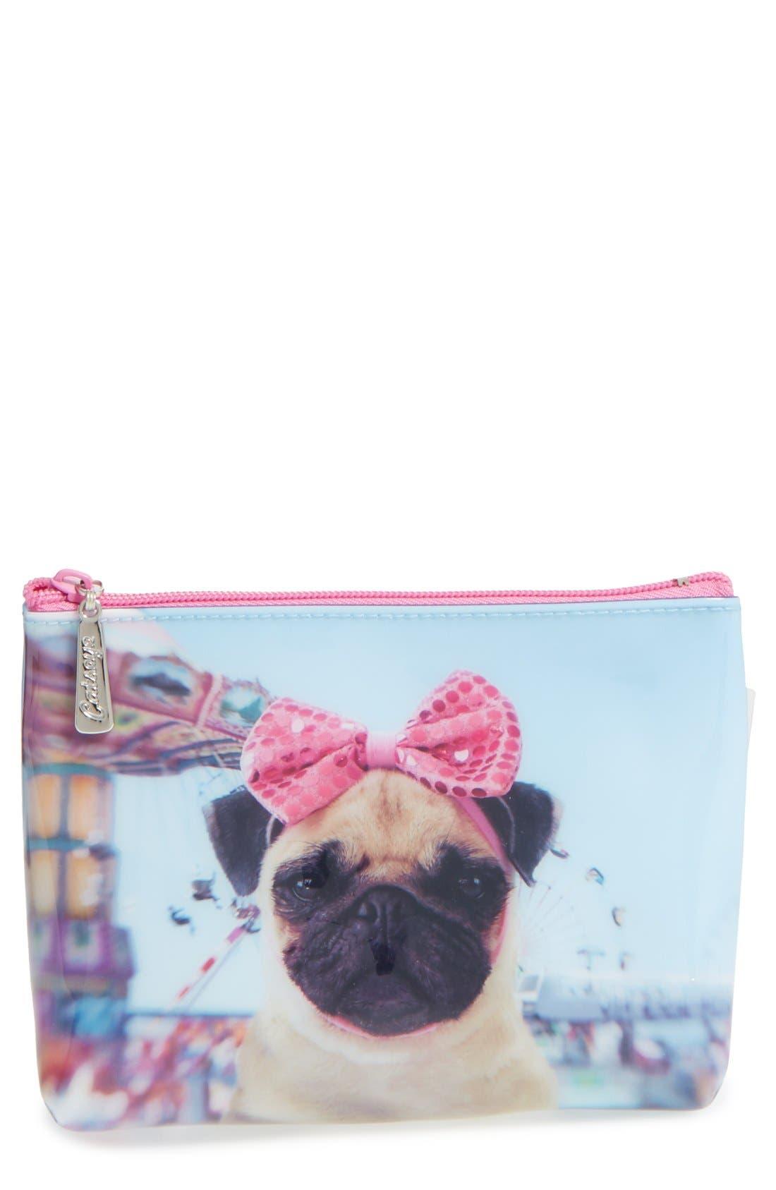 CATSEYE LONDON,                             Small Carnival Pug Cosmetics Bag,                             Main thumbnail 1, color,                             400
