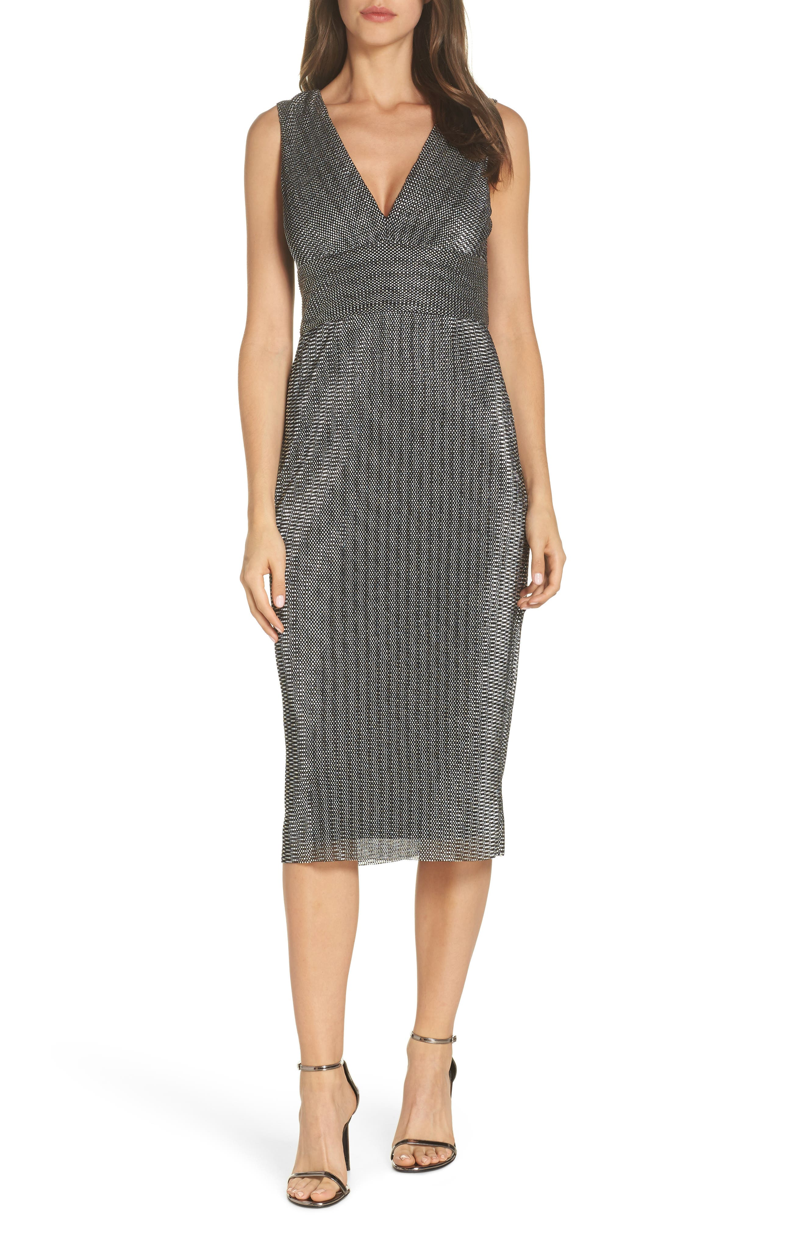 Adrianna Papell Chain Mail Knit Cocktail Sheath