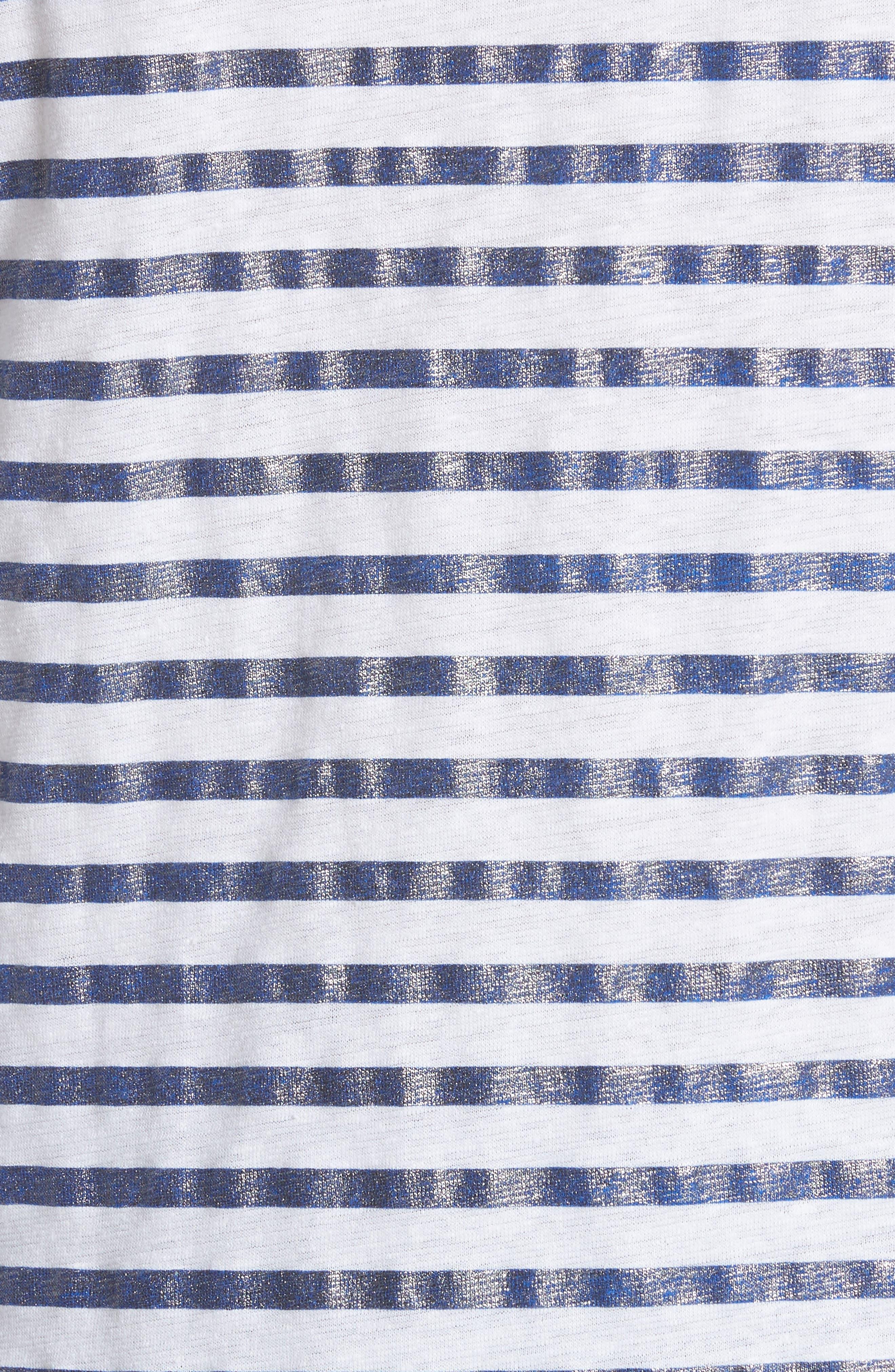 Linen Stretch Stripe Top,                             Alternate thumbnail 5, color,                             BLANC/ MARINE METAL