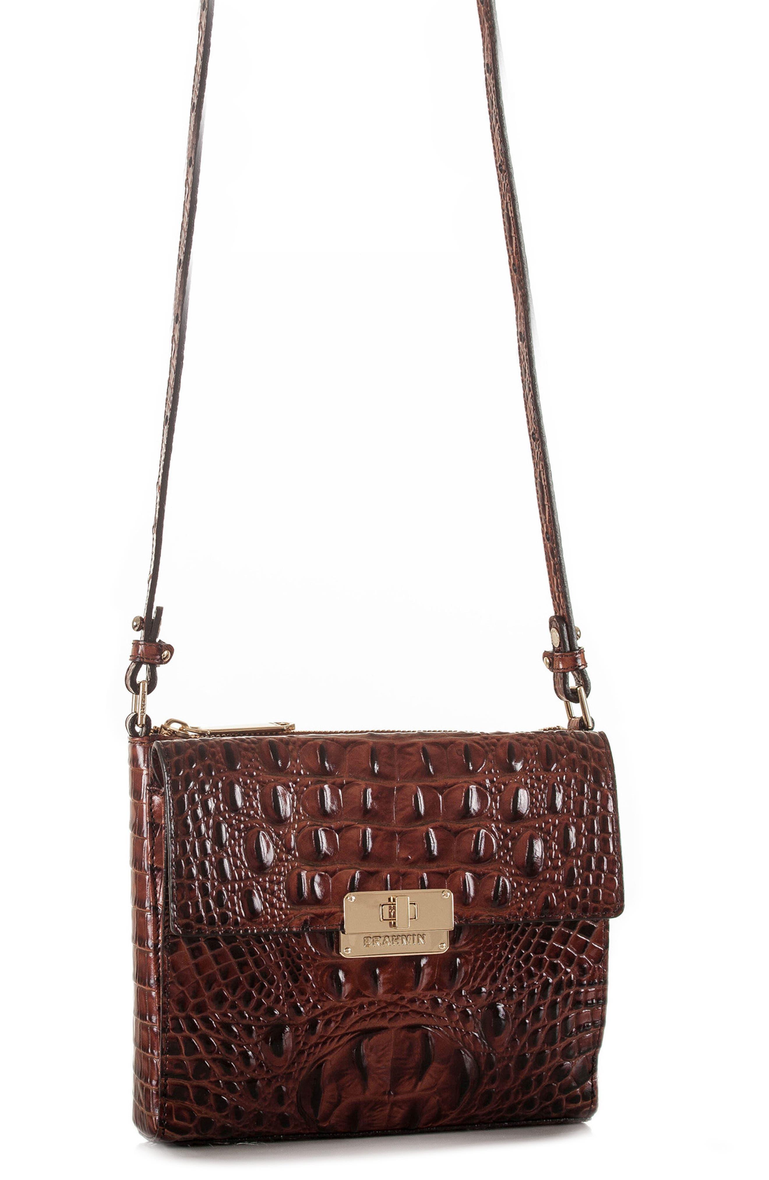 Melbourne Manhattan Croc Embossed Leather Crossbody Bag,                             Alternate thumbnail 8, color,                             PECAN