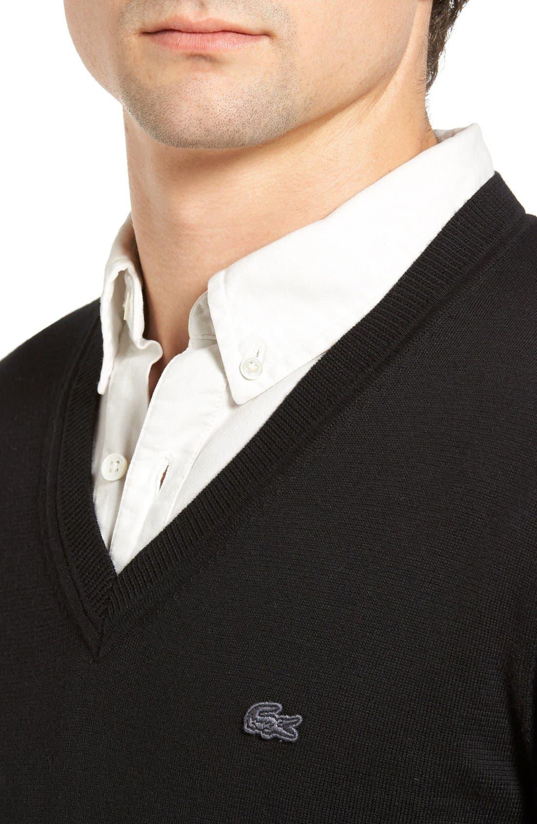 Cotton Jersey V-Neck Sweater,                             Alternate thumbnail 21, color,