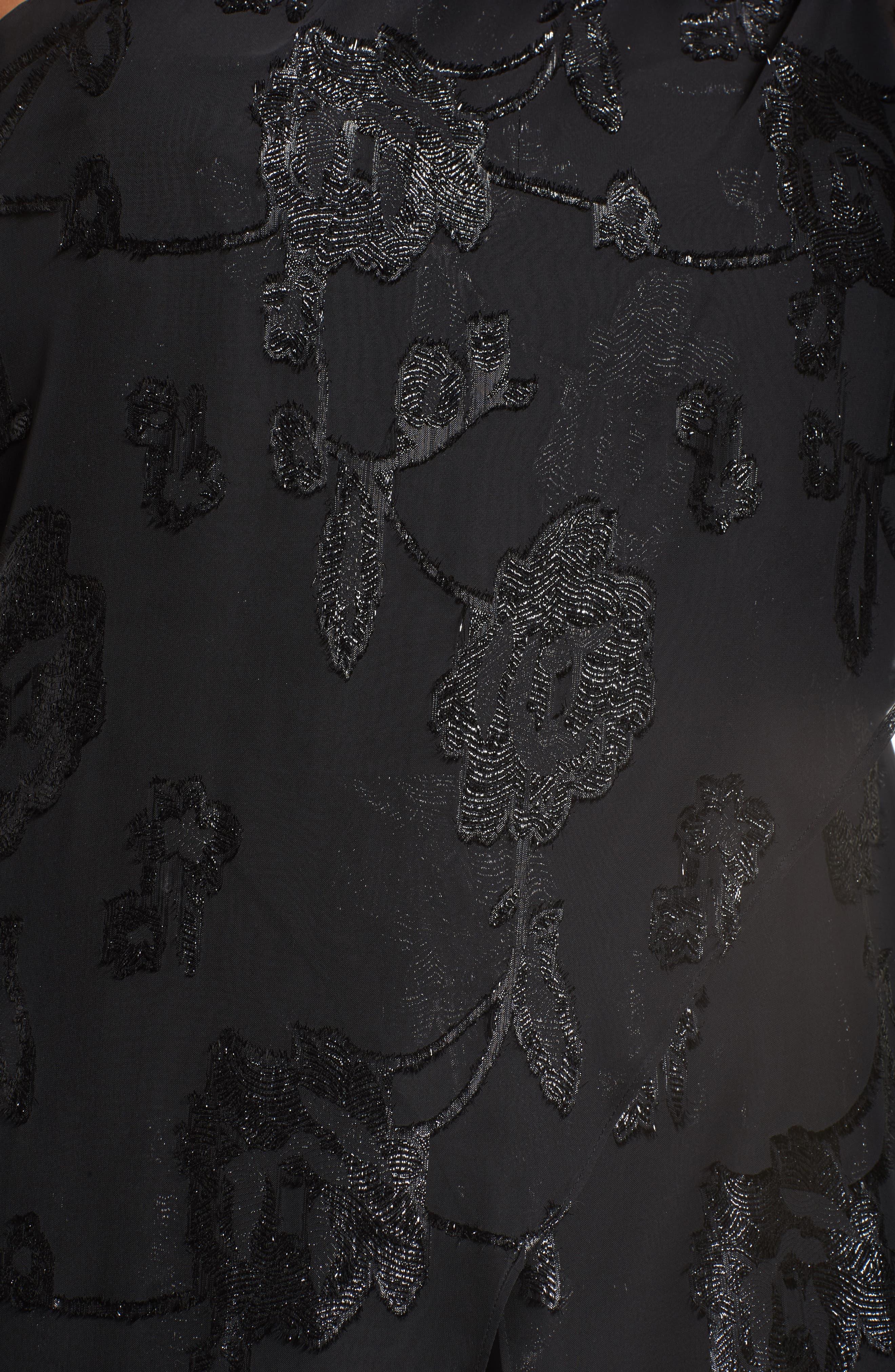 Floral Chiffon One-Shoulder Jumpsuit,                             Alternate thumbnail 5, color,                             002