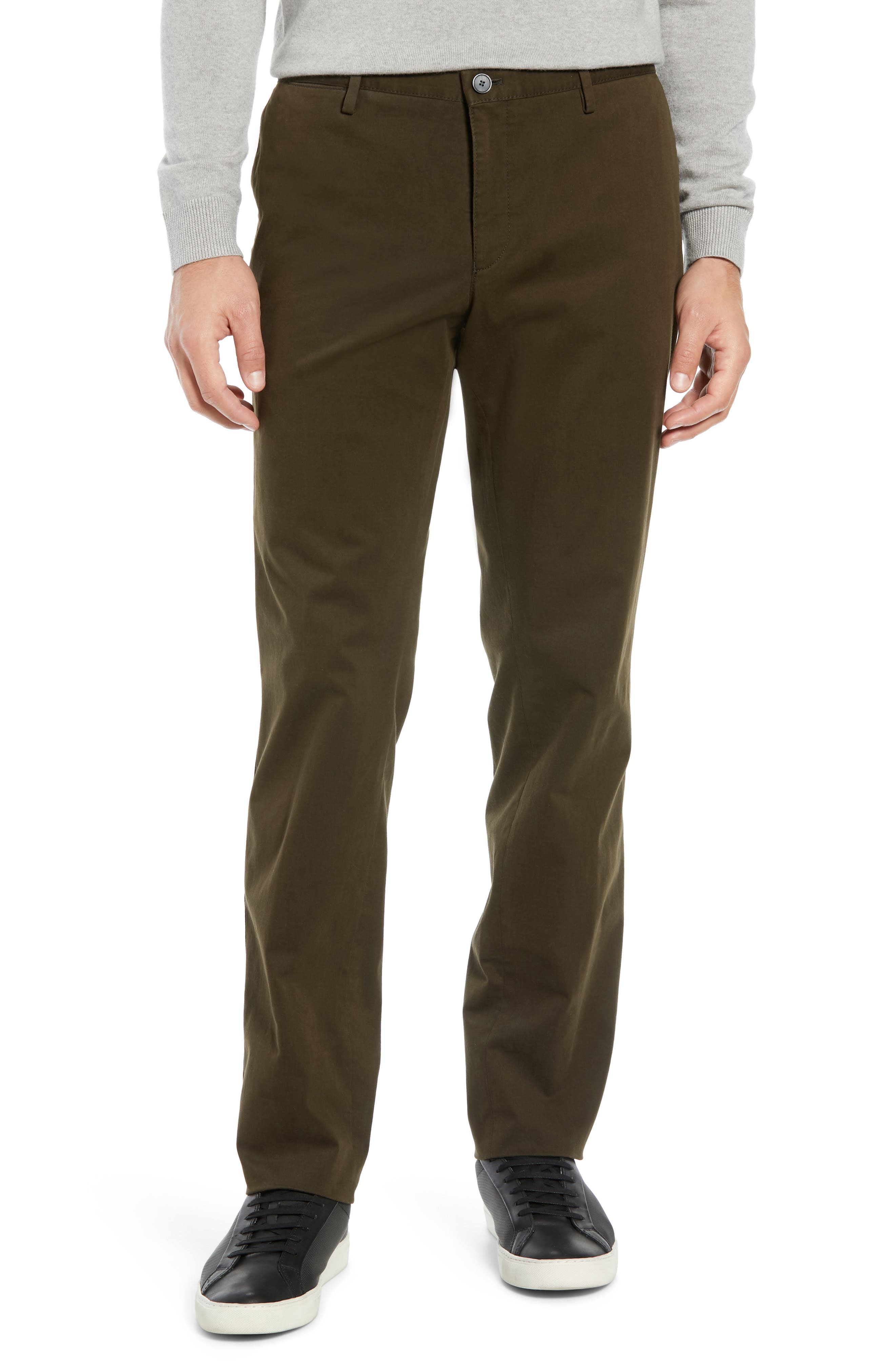 Stanino Flat Front Stretch Cotton Solid Trousers,                         Main,                         color, OLIVE