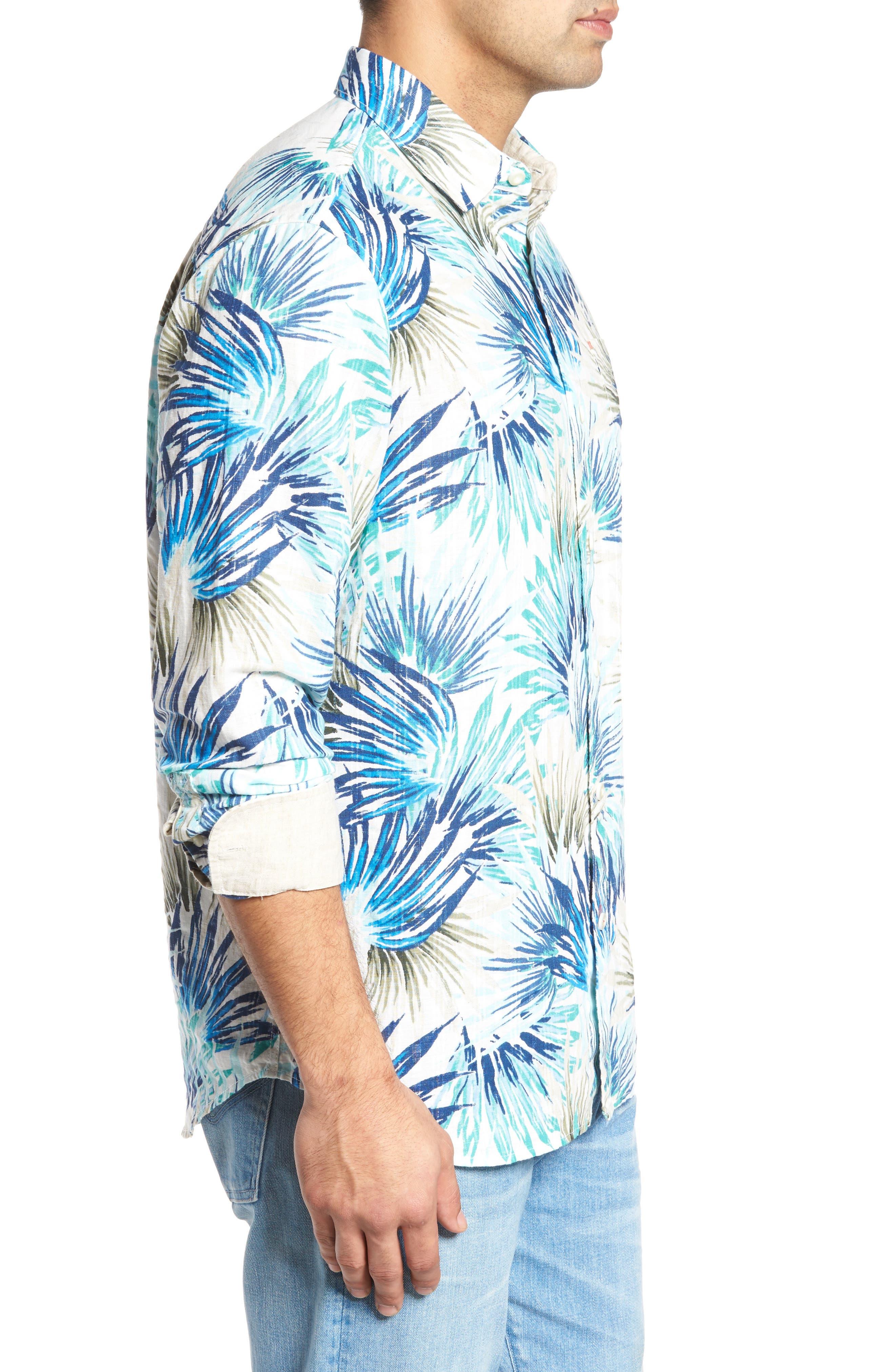 Prism Palms Linen Blend Sport Shirt,                             Alternate thumbnail 3, color,                             400