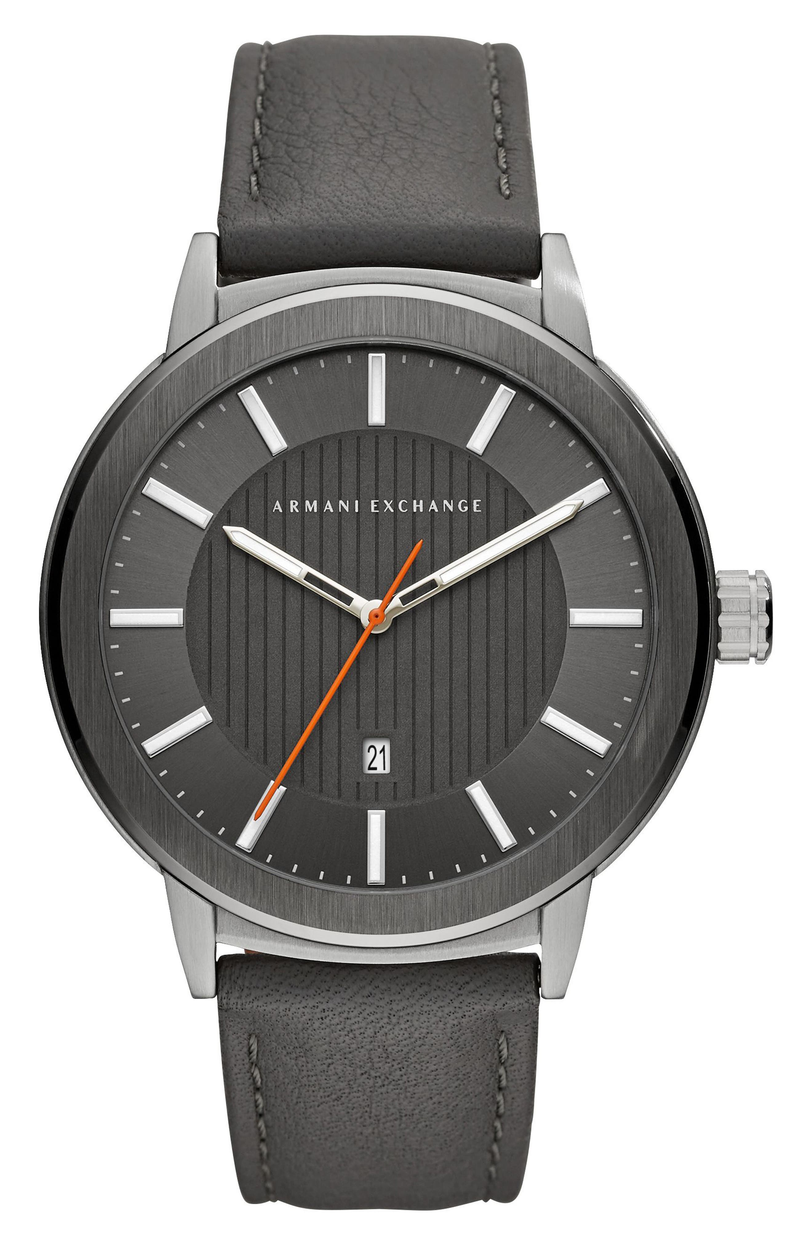Round Leather Strap Watch, 46mm,                         Main,                         color, 002