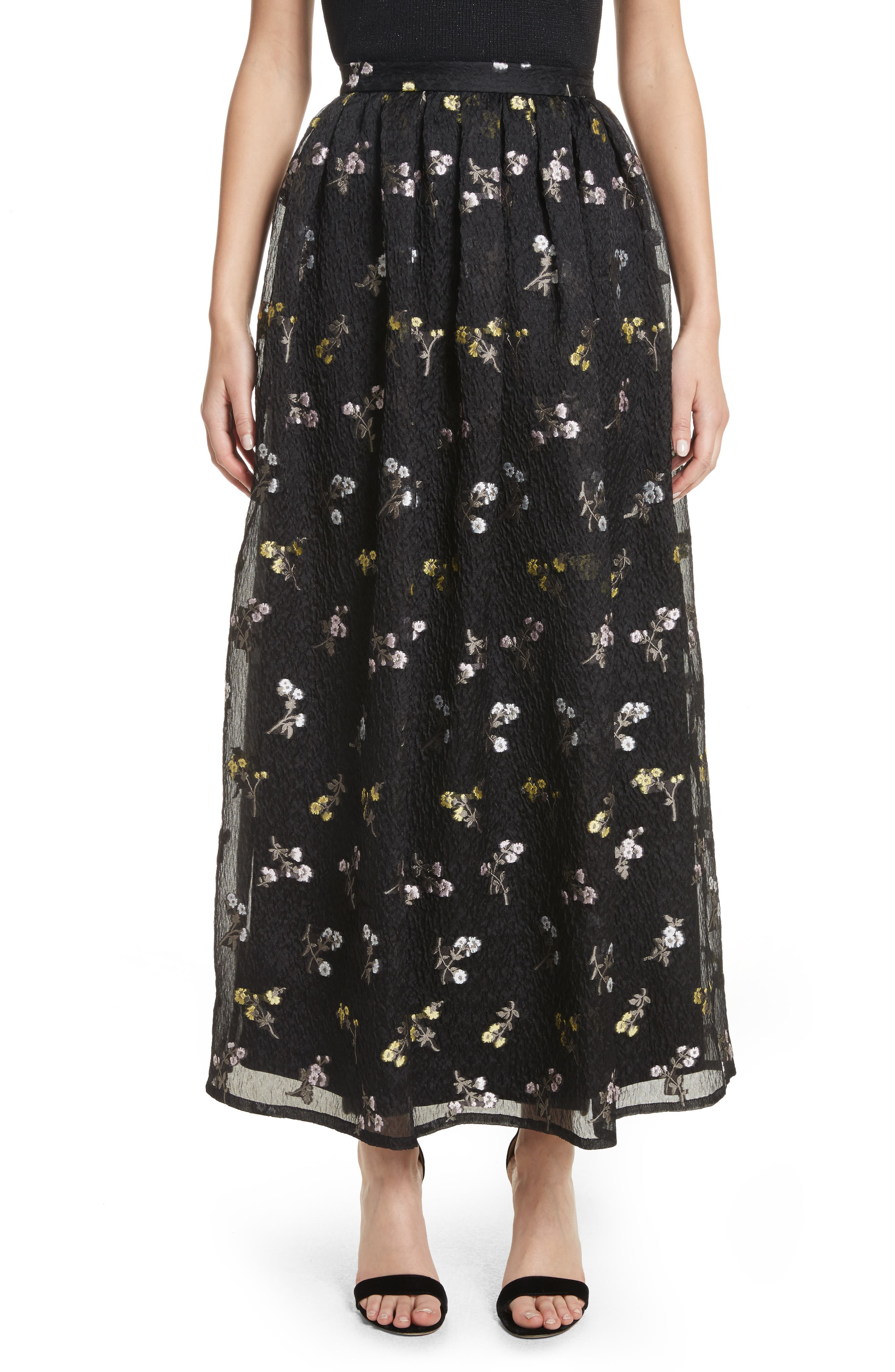 Floral Fil Coupé Organza Cloque Maxi Skirt,                         Main,                         color, 001
