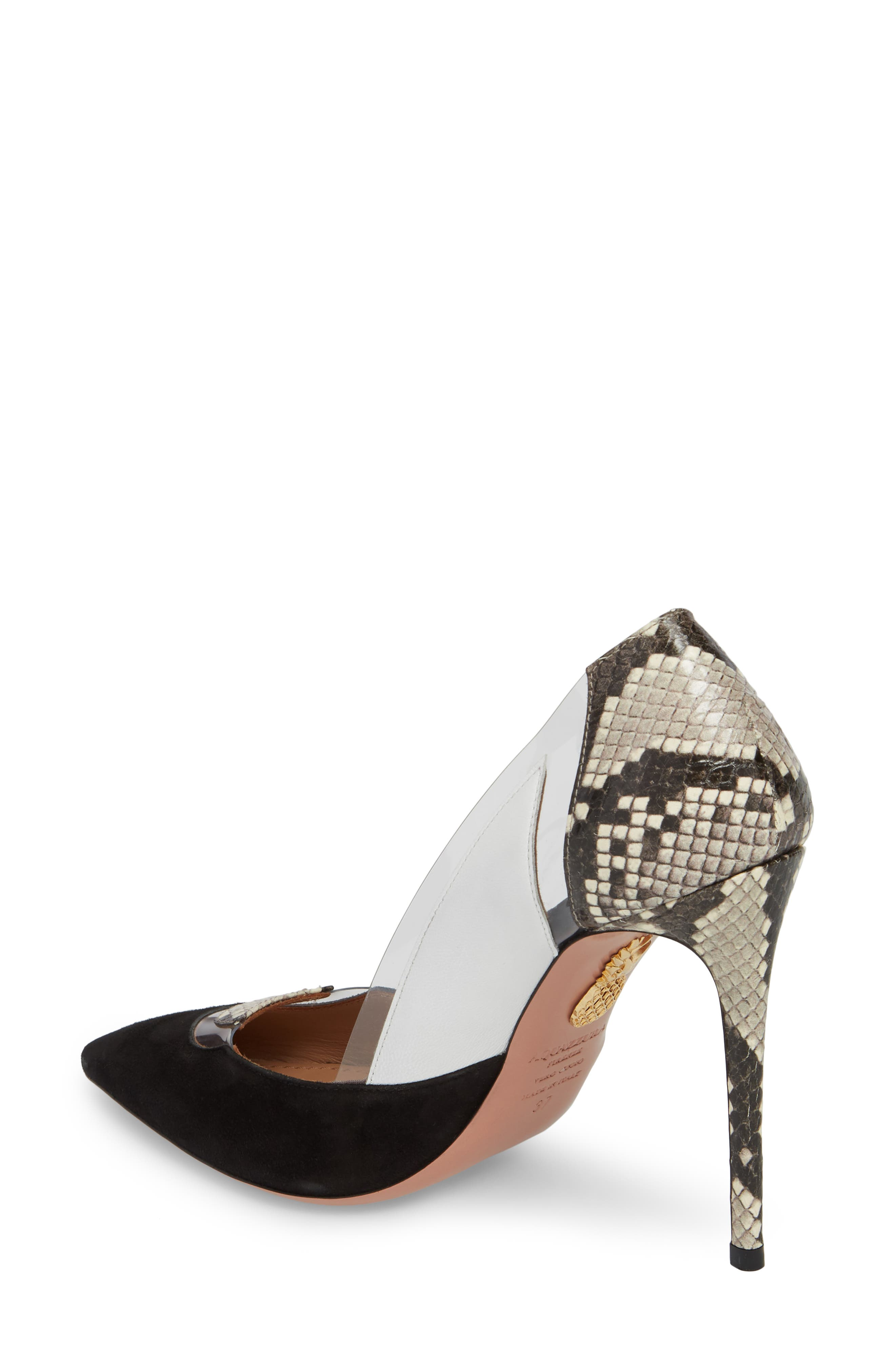 Fearless Genuine Snakeskin Pointy Toe Pump,                             Alternate thumbnail 2, color,                             006