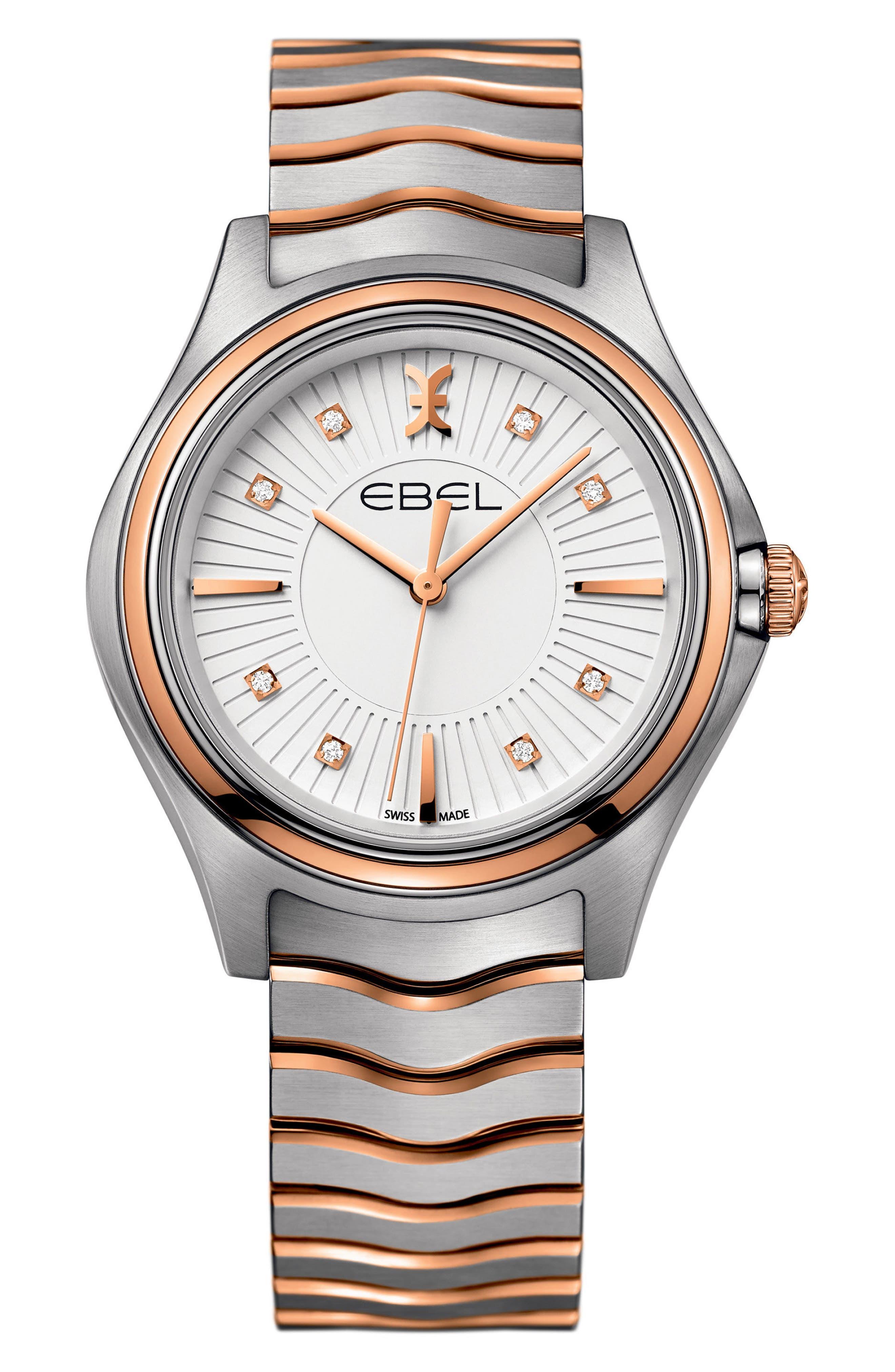 Wave Bracelet Watch, 35mm,                         Main,                         color, SILVER/ ROSE GOLD