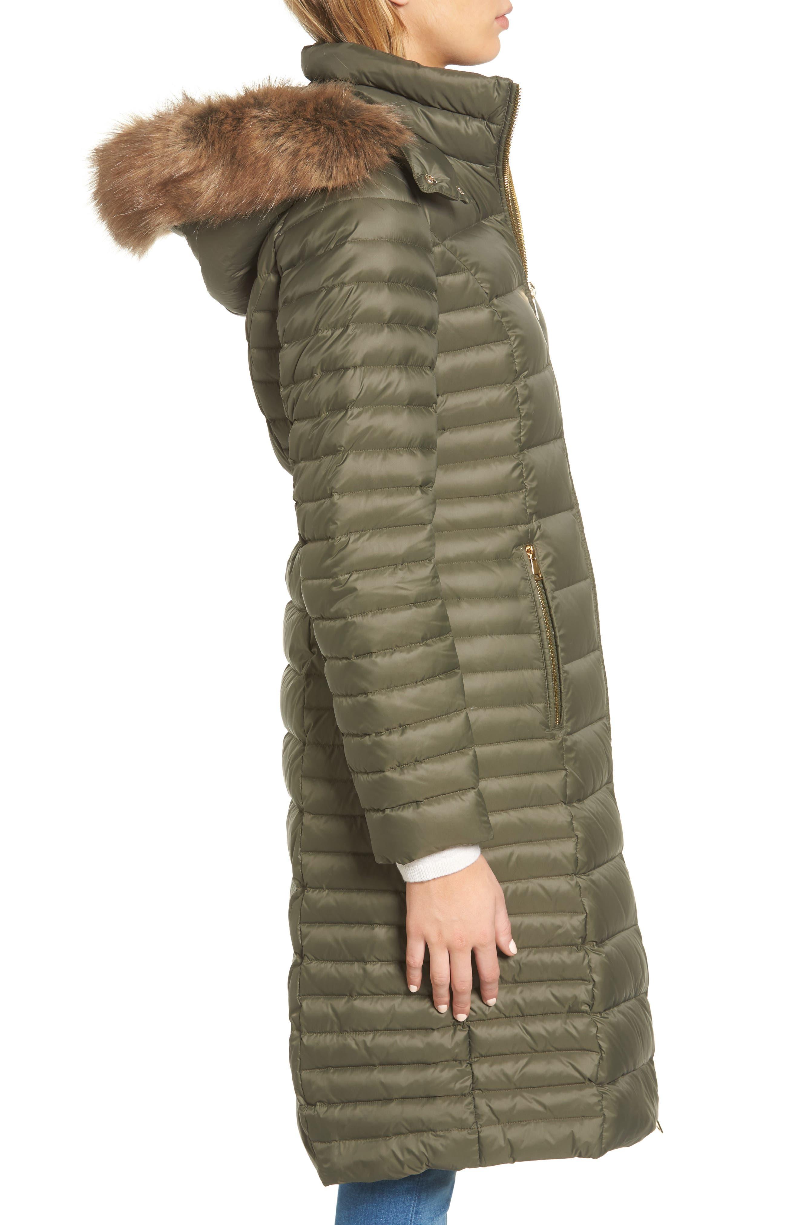 down puffer coat with faux fur trim,                             Alternate thumbnail 8, color,