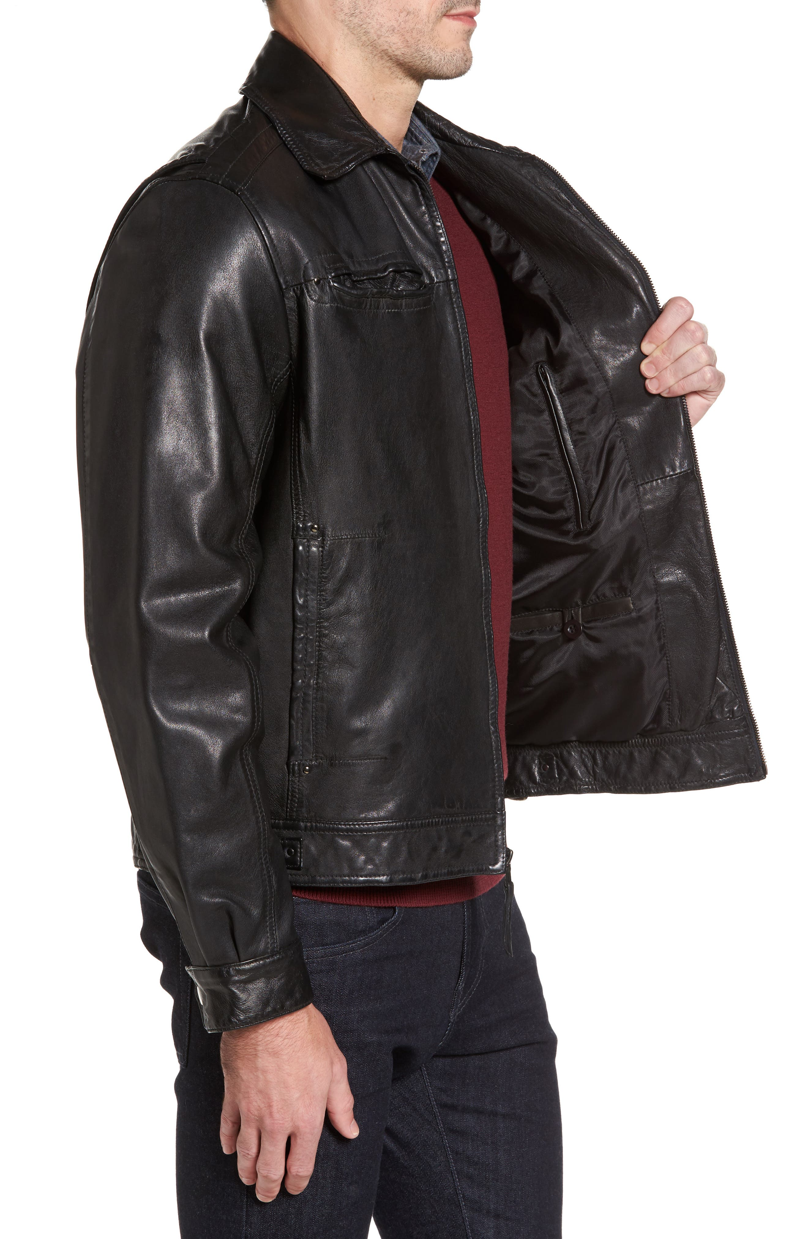 Contemporary Fit Washed Leather Jacket,                             Alternate thumbnail 3, color,                             001