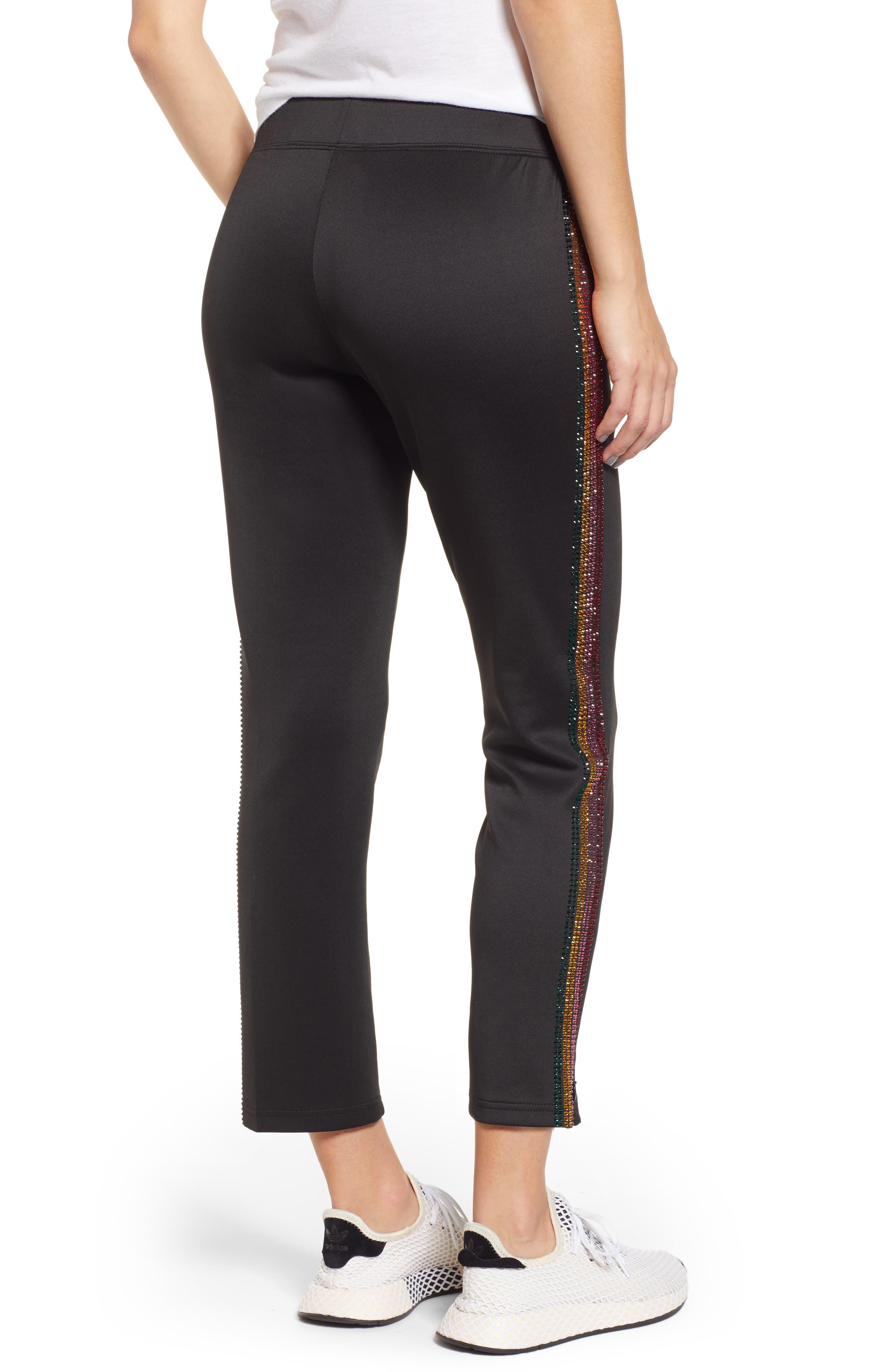 Rhinestone Track Pants,                             Alternate thumbnail 2, color,                             BLACK