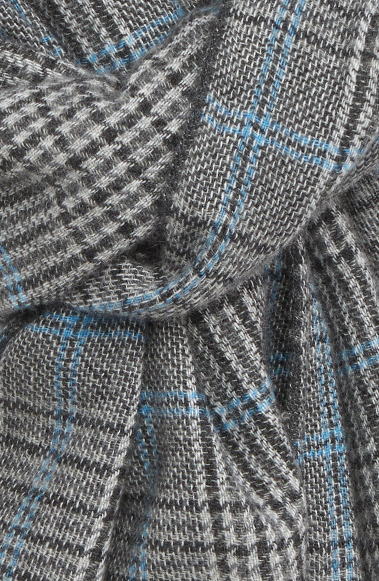 Glen Plaid Cashmere Scarf,                             Alternate thumbnail 3, color,                             CHARCOAL
