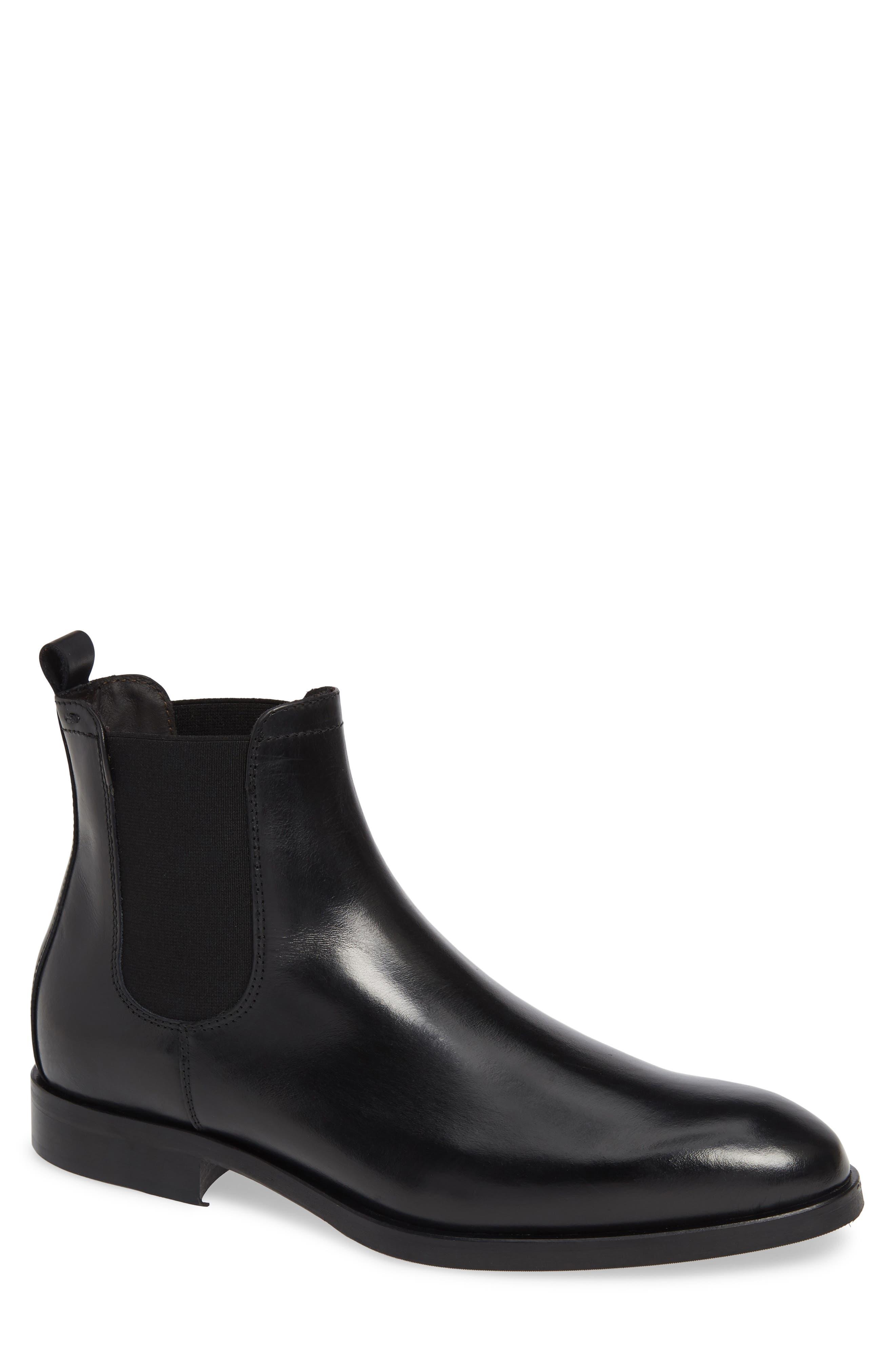 Andreas Chelsea Boot,                         Main,                         color, VITELLO NERO LEATHER