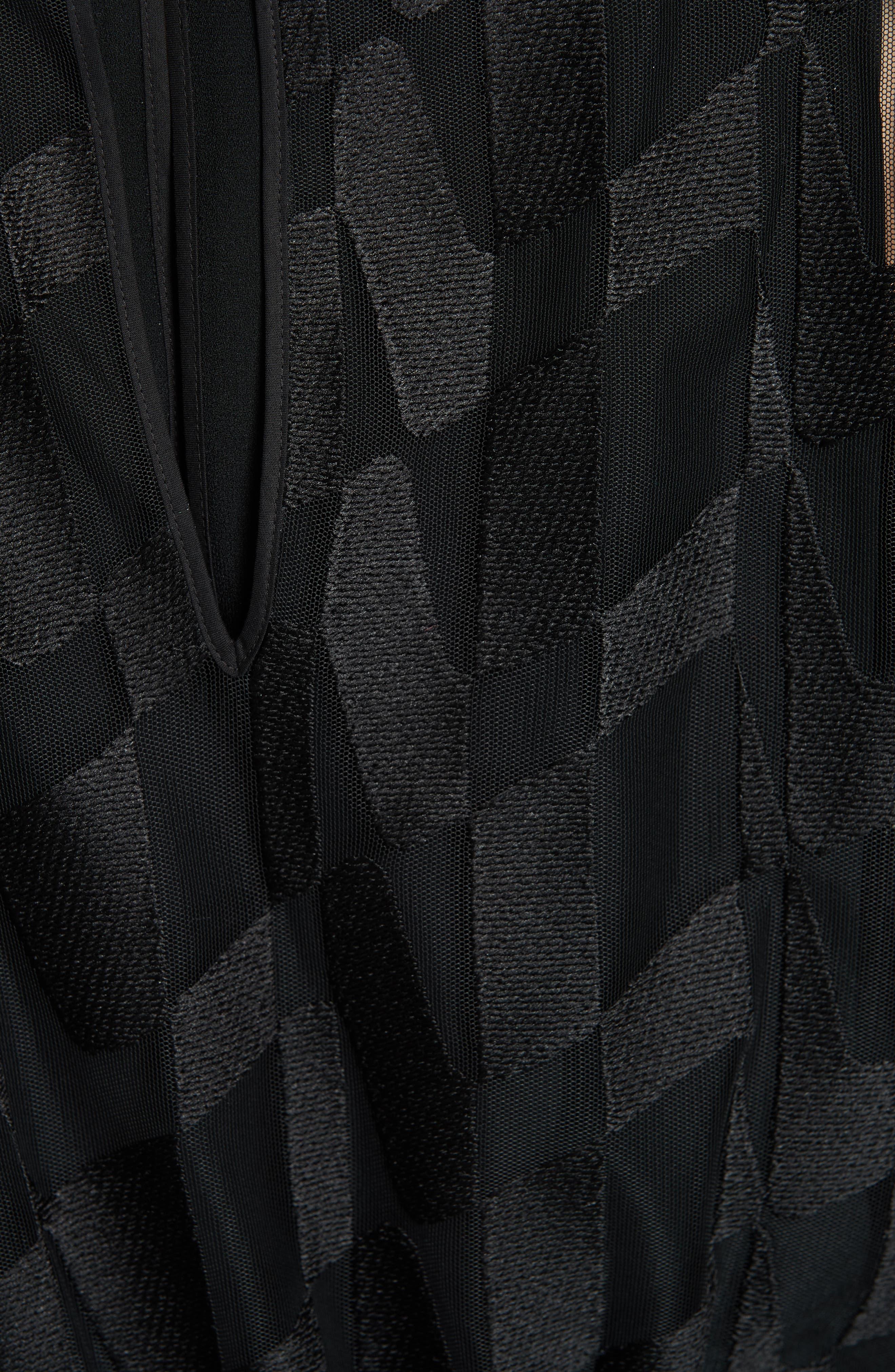 Dalace Pleat & Geo Print Midi Dress,                             Alternate thumbnail 5, color,                             BLACK
