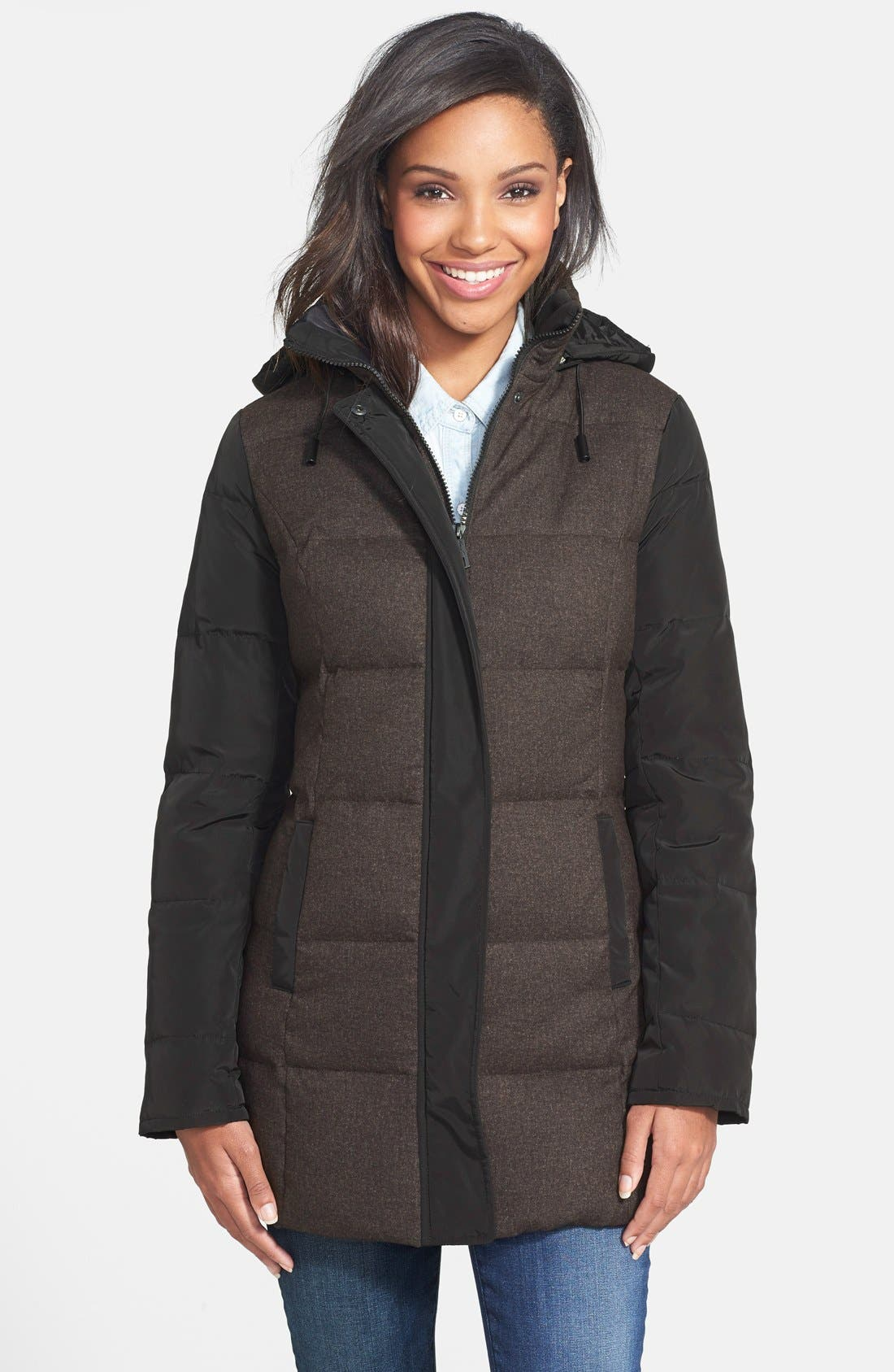 Mixed Media Quilted Coat,                             Main thumbnail 1, color,                             001
