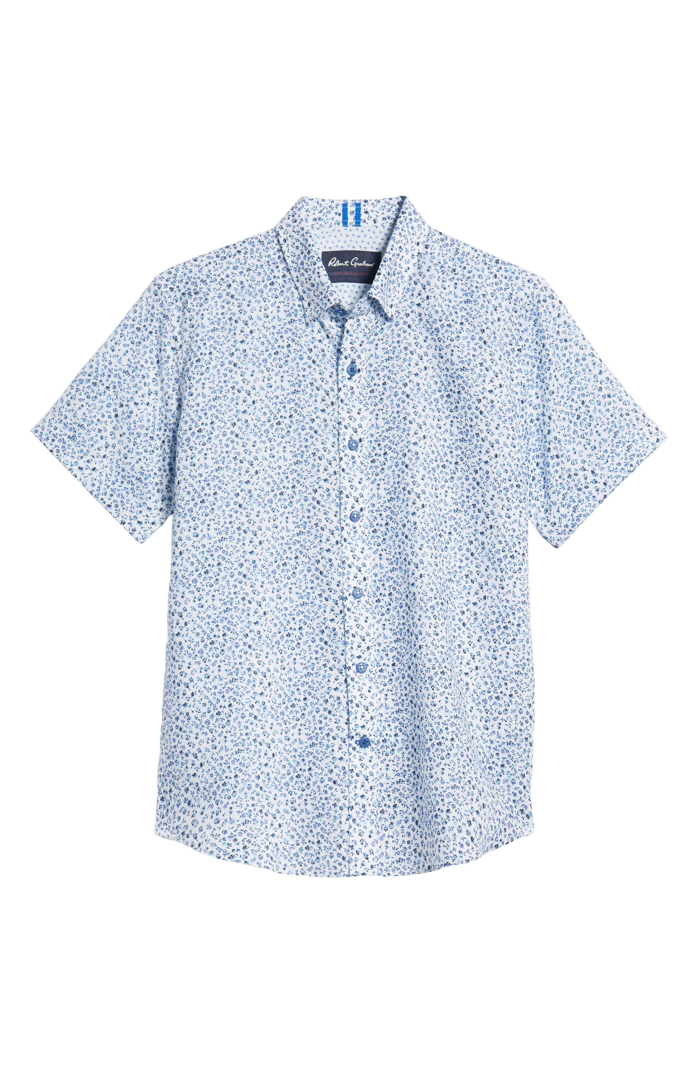 Patrick Floral Linen Blend Sport Shirt,                             Alternate thumbnail 5, color,                             400
