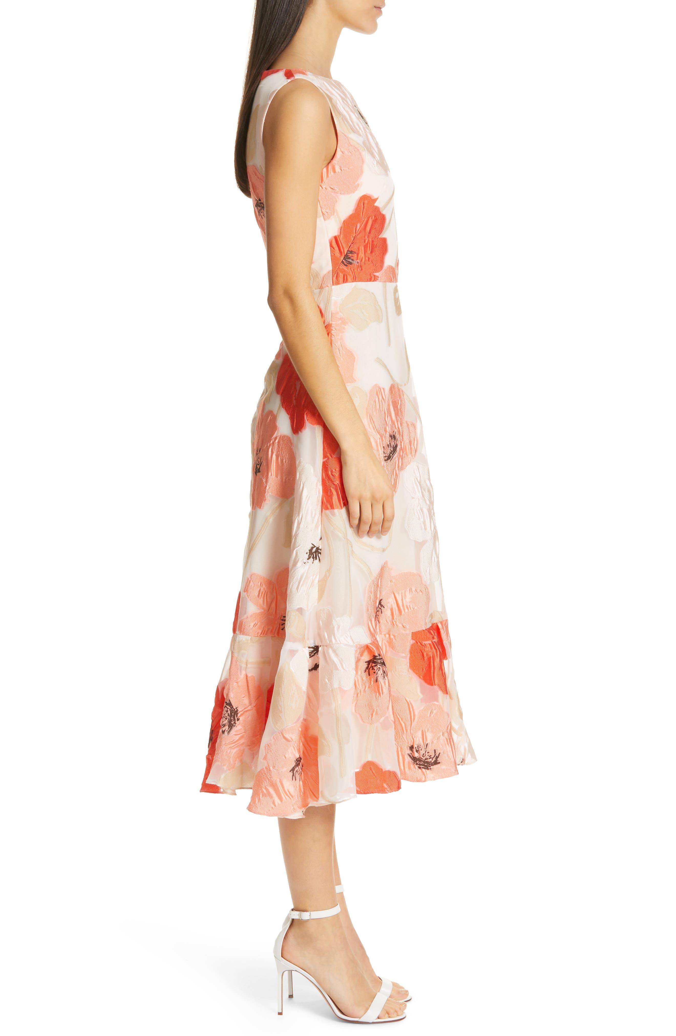 LELA ROSE,                             Oversize Floral Fil Coupé Midi Dress,                             Alternate thumbnail 3, color,                             CORAL MULTI