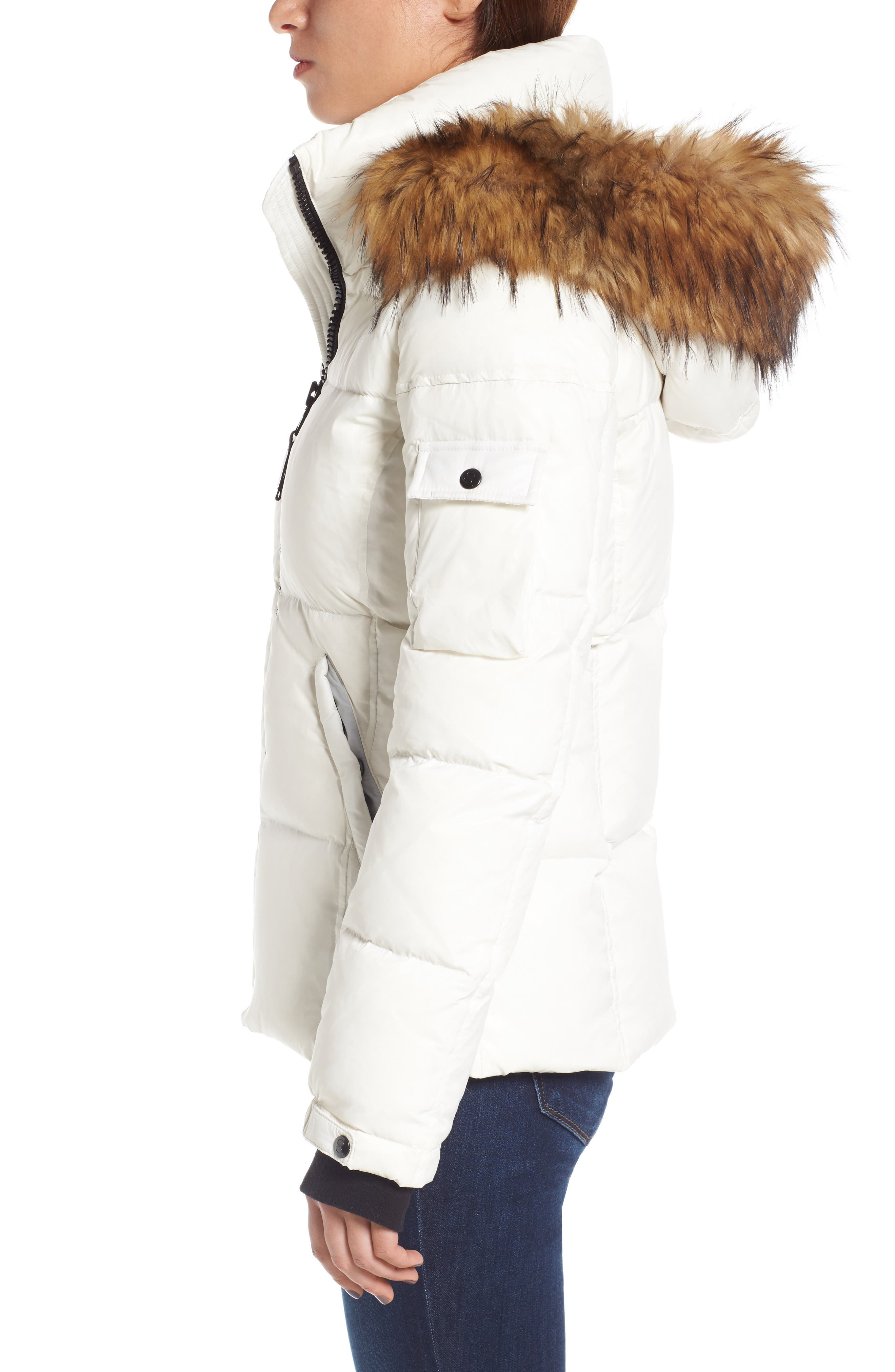 Kylie Faux Fur Trim Gloss Puffer Jacket,                             Alternate thumbnail 18, color,