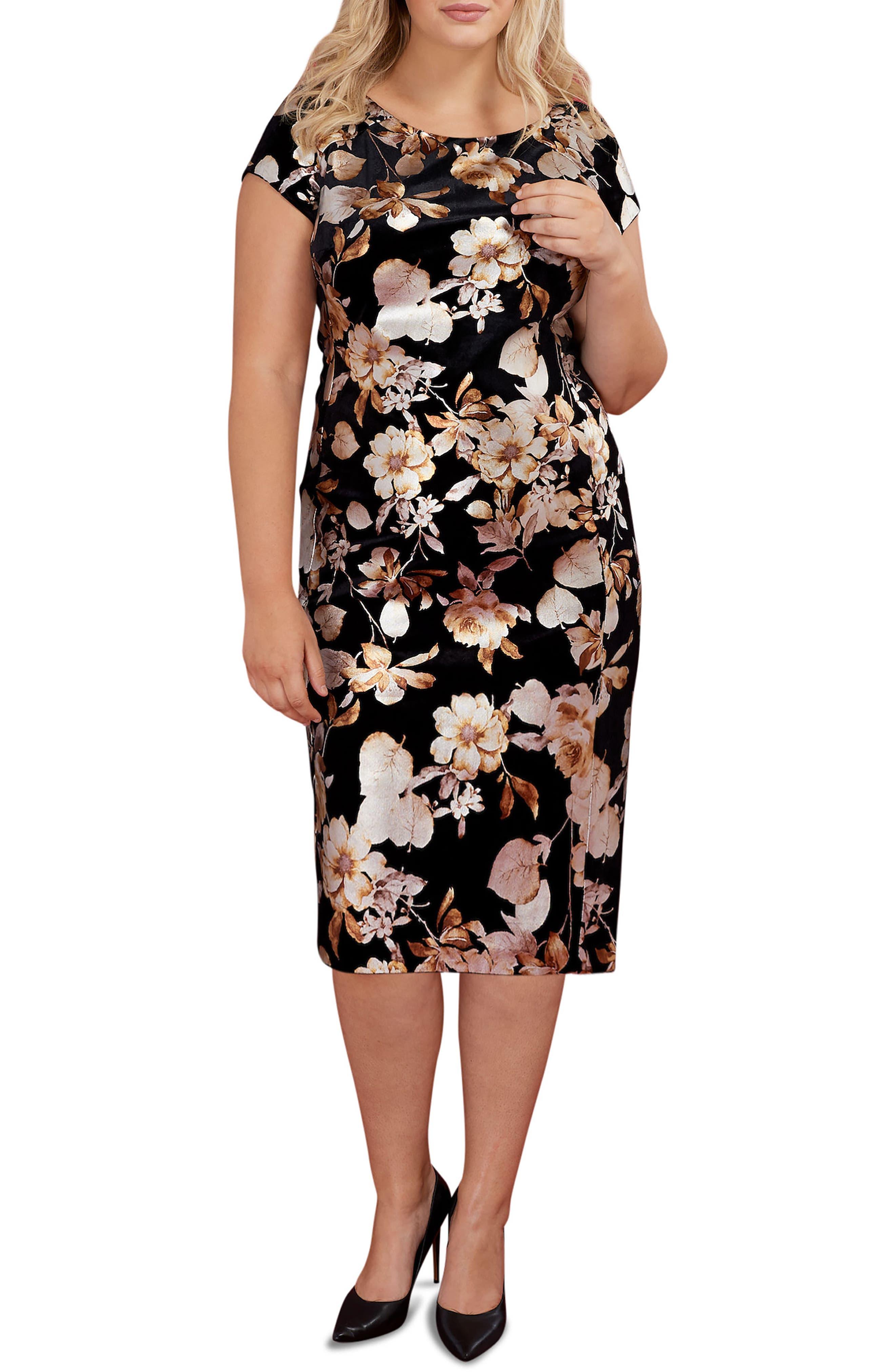 Foiled Velvet Burnout Sheath Dress,                             Main thumbnail 1, color,                             714