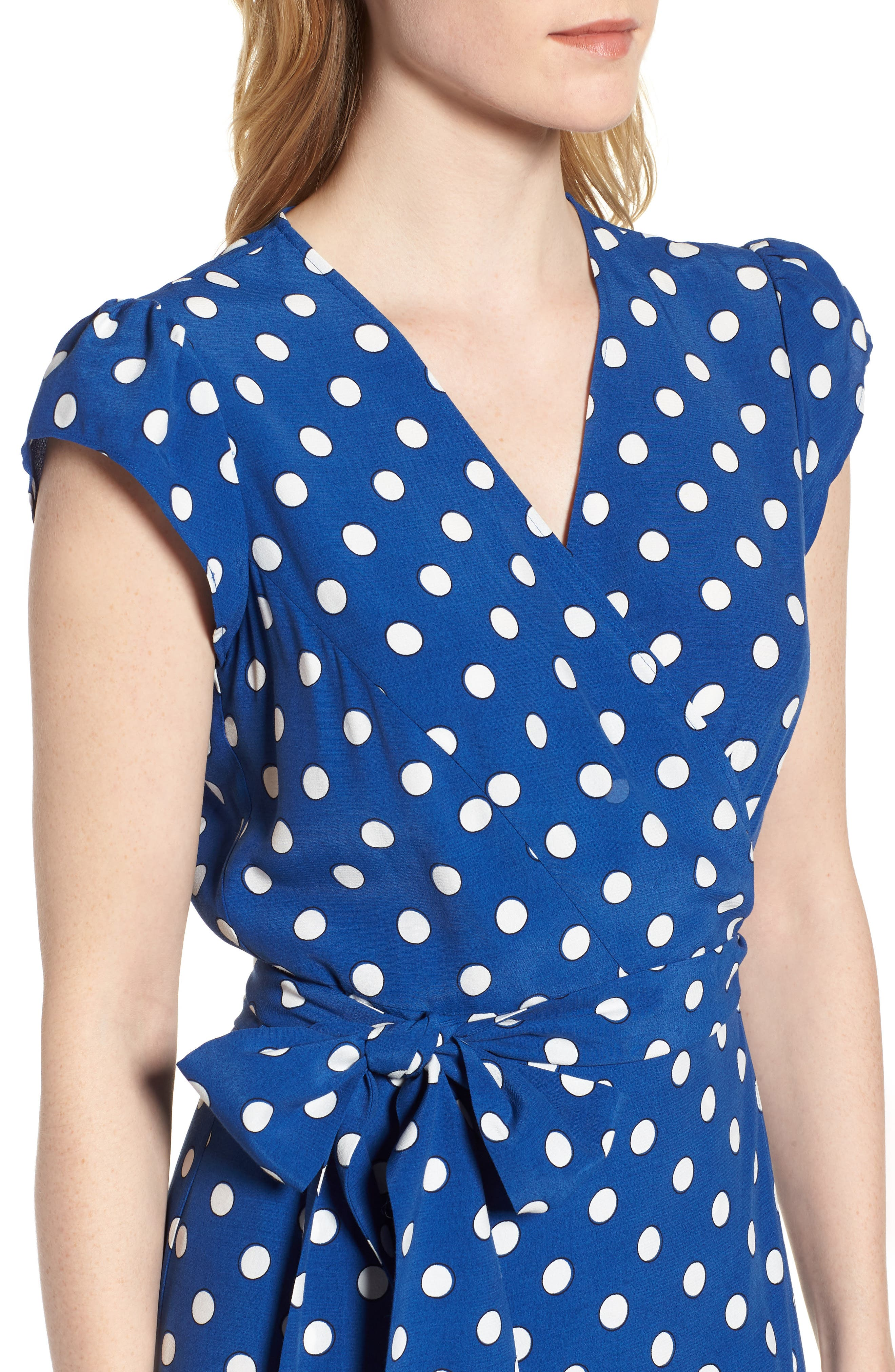 Polka Dot Wrap Dress,                             Alternate thumbnail 4, color,