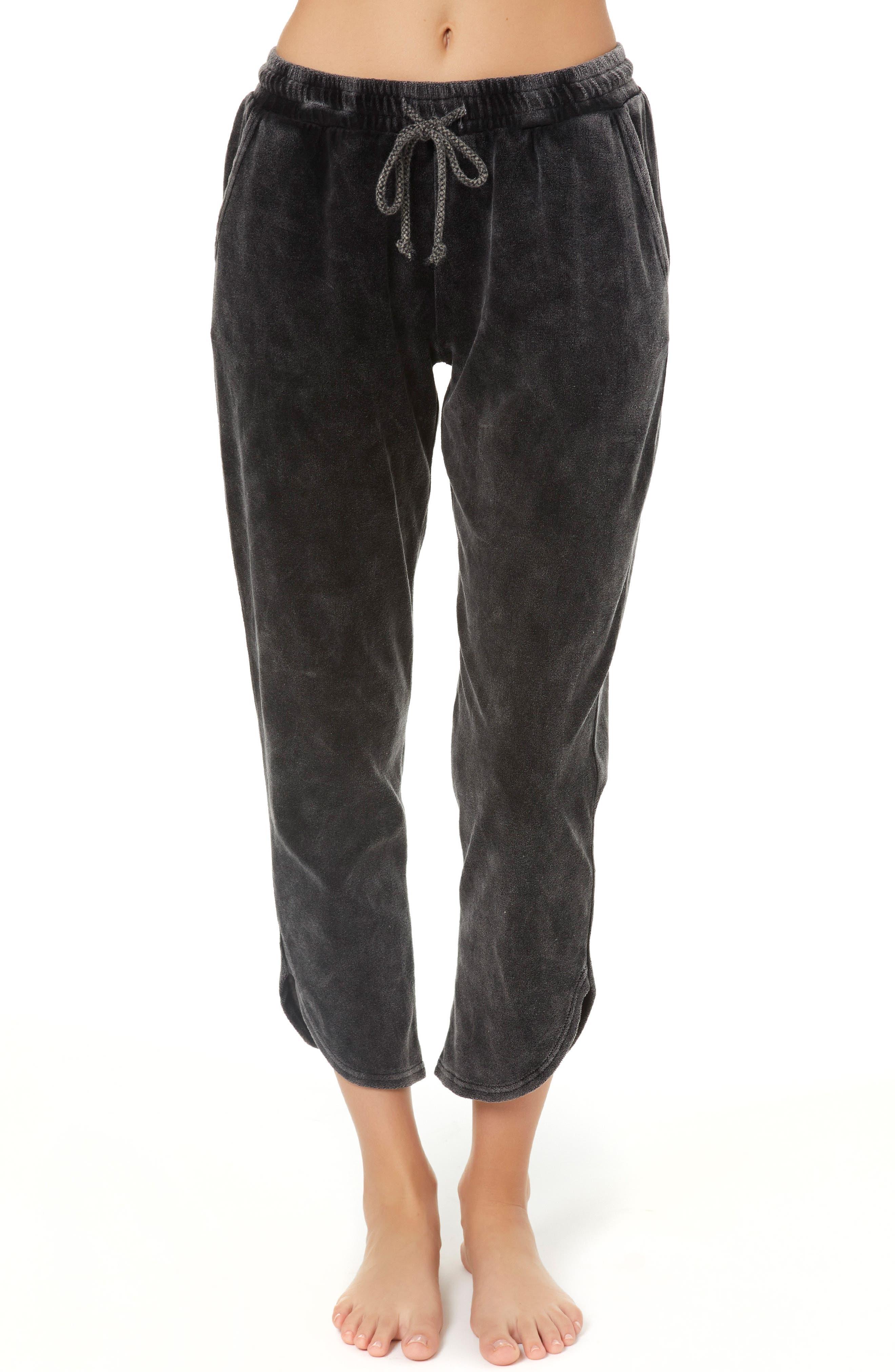 Ackerman Velour Track Pants,                         Main,                         color, CHARCOAL