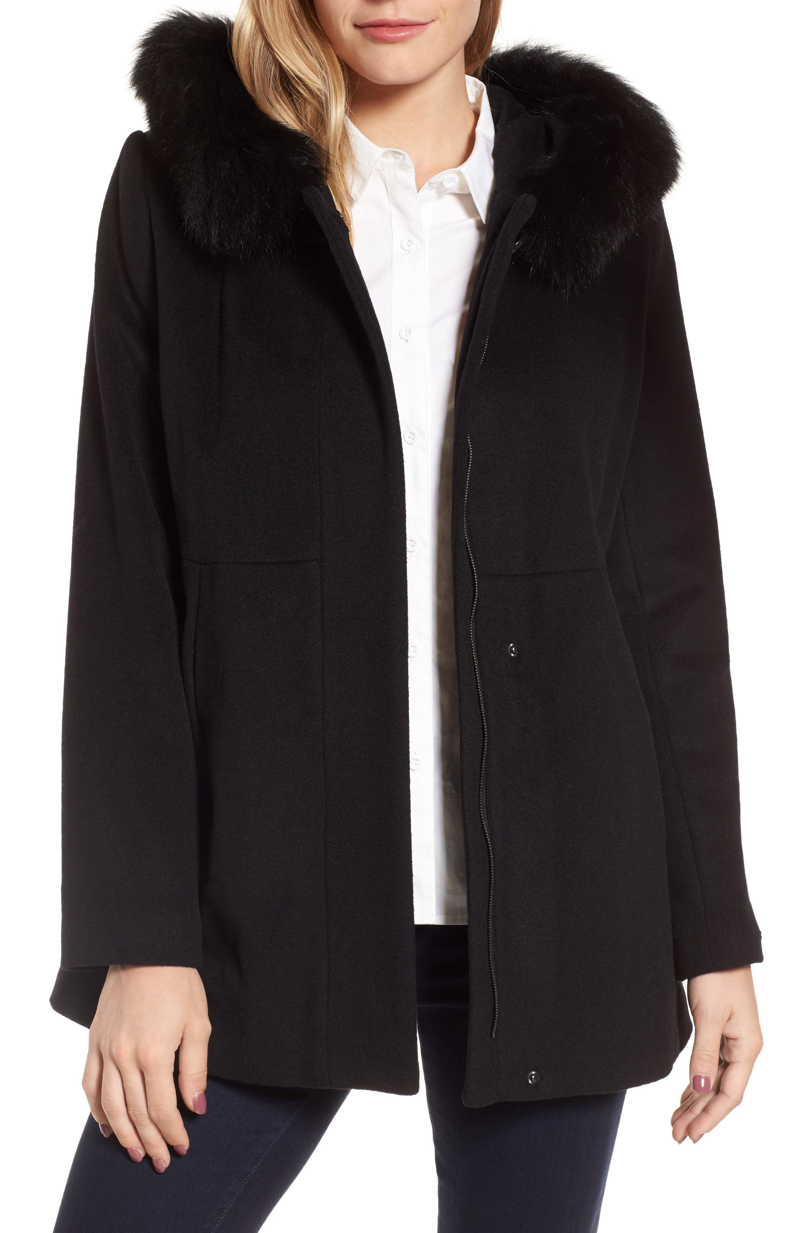 Genuine Fox Fur Trim Hooded Wool Blend Coat,                             Alternate thumbnail 2, color,                             001