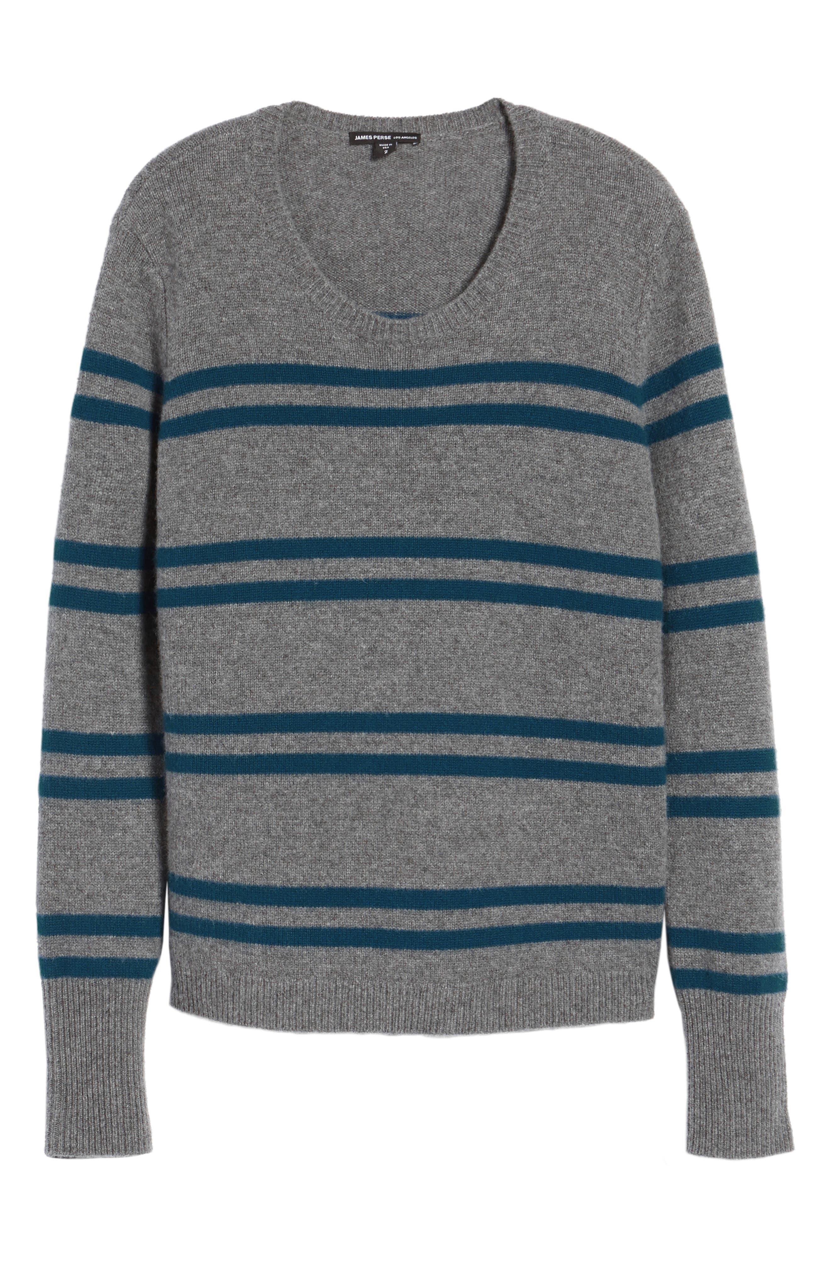 Stripe Cashmere Sweatshirt,                             Alternate thumbnail 6, color,                             453