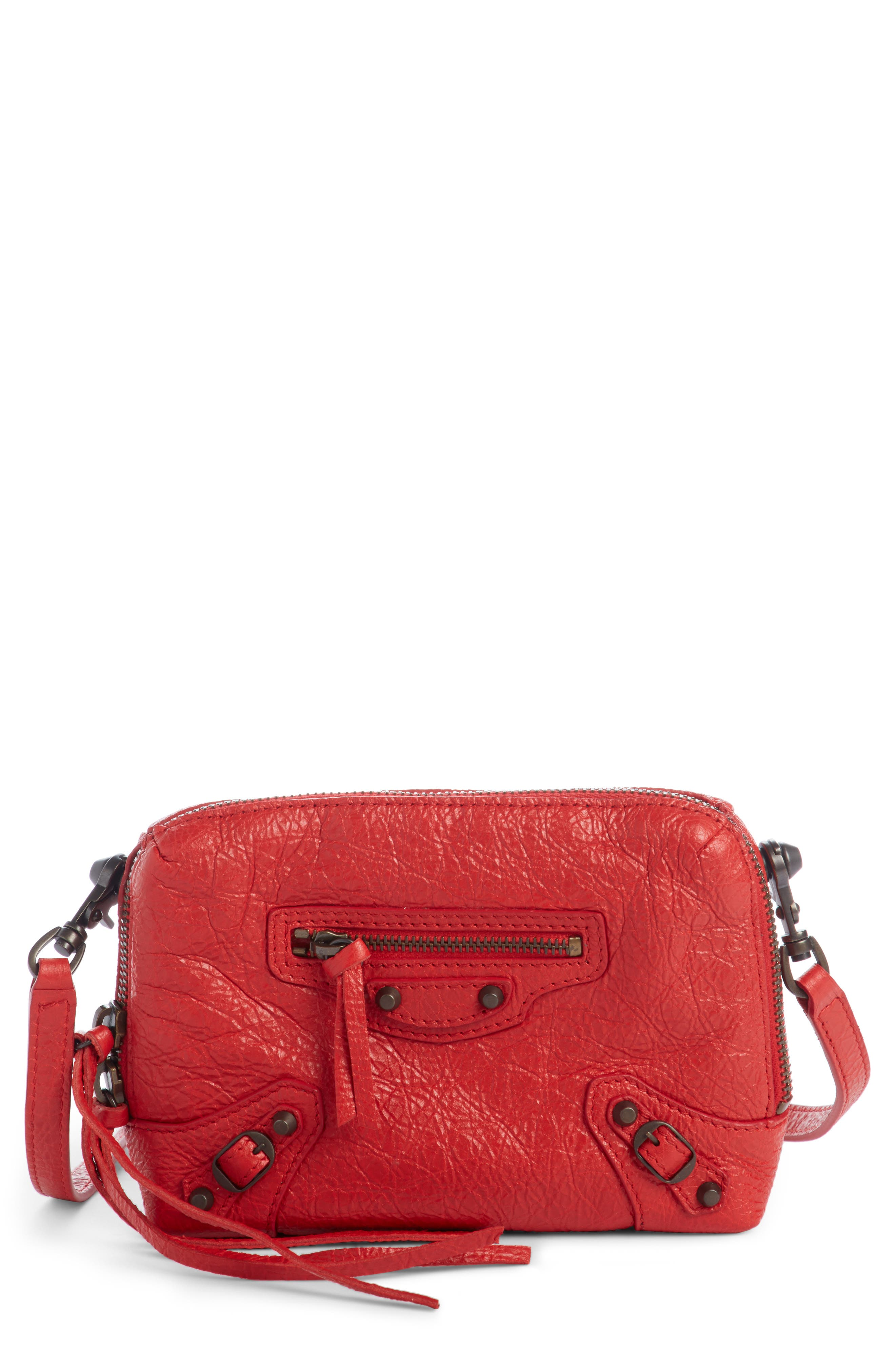 Extra Small Classic Reporter Leather Shoulder Bag,                             Main thumbnail 1, color,                             ROUGE TANGO