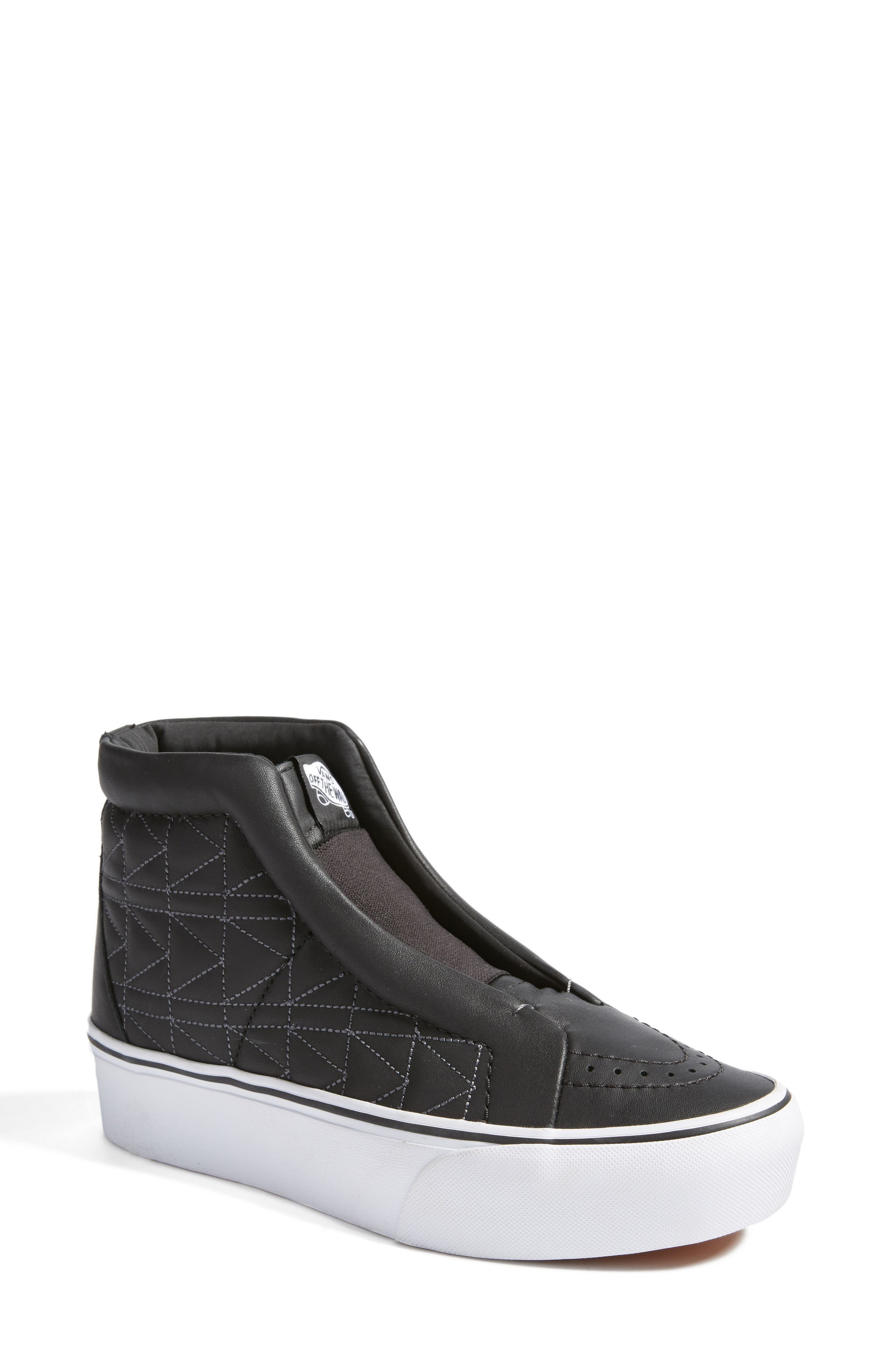 x KARL LAGERFELD SK8-Hi Leather Sneaker,                             Main thumbnail 1, color,                             001