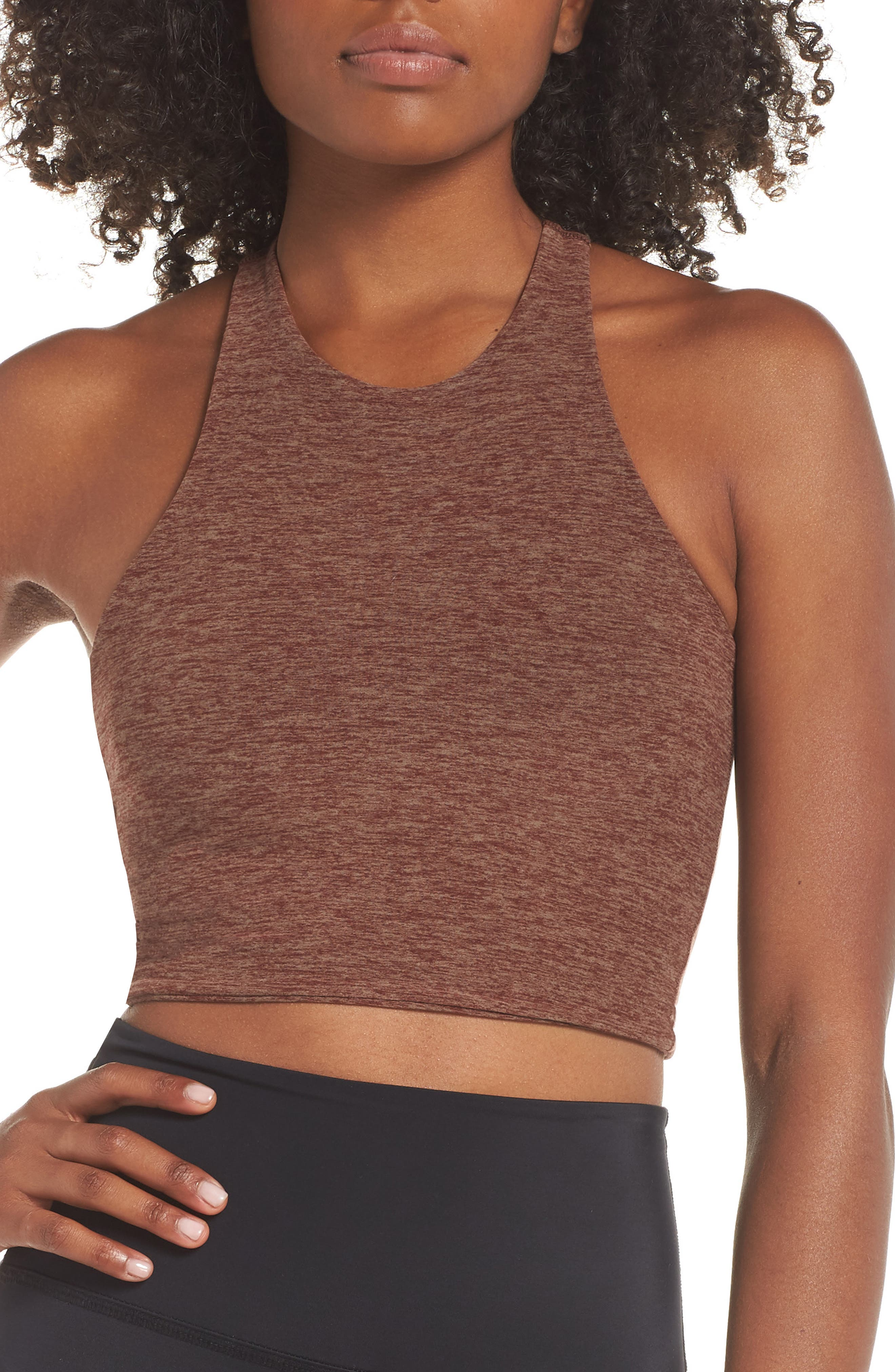 Across the Strap Cropped Top,                             Main thumbnail 1, color,                             RED ROCK/ TUMBLEWEED