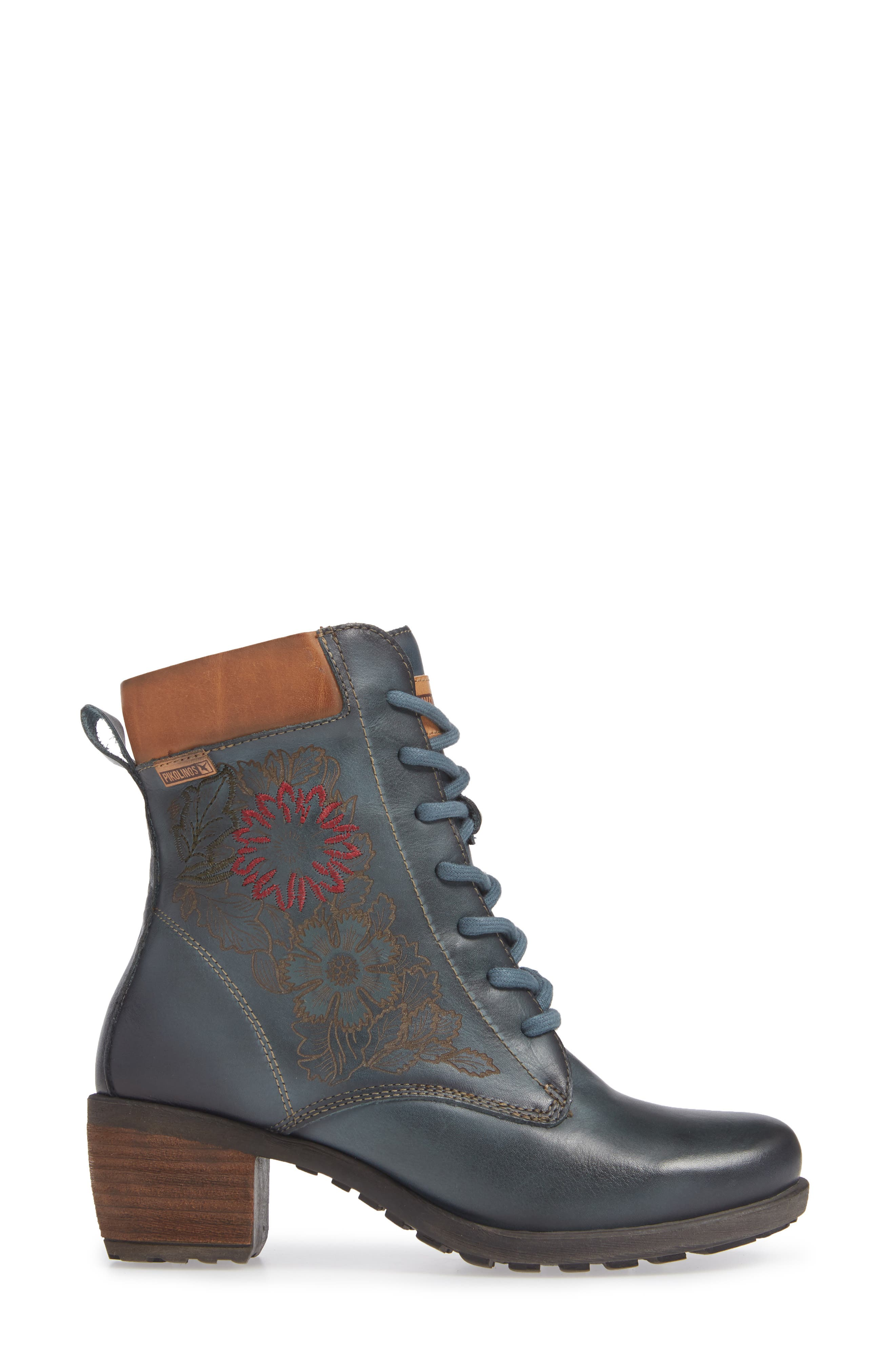 Le Mans Embroidered Lace-Up Bootie,                             Alternate thumbnail 3, color,                             OCEAN LEATHER