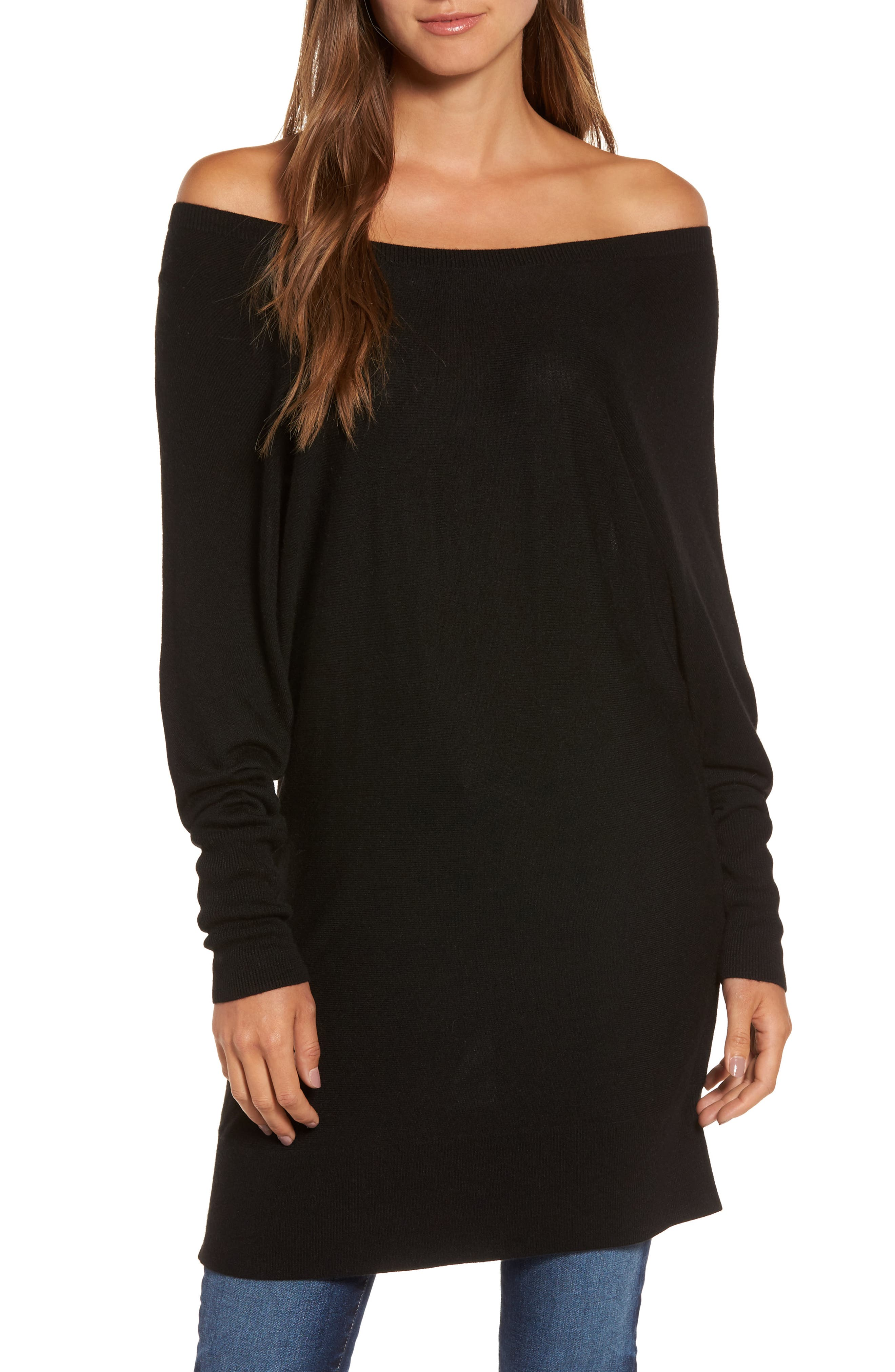 Off the Shoulder Sweater Tunic,                             Main thumbnail 1, color,                             001