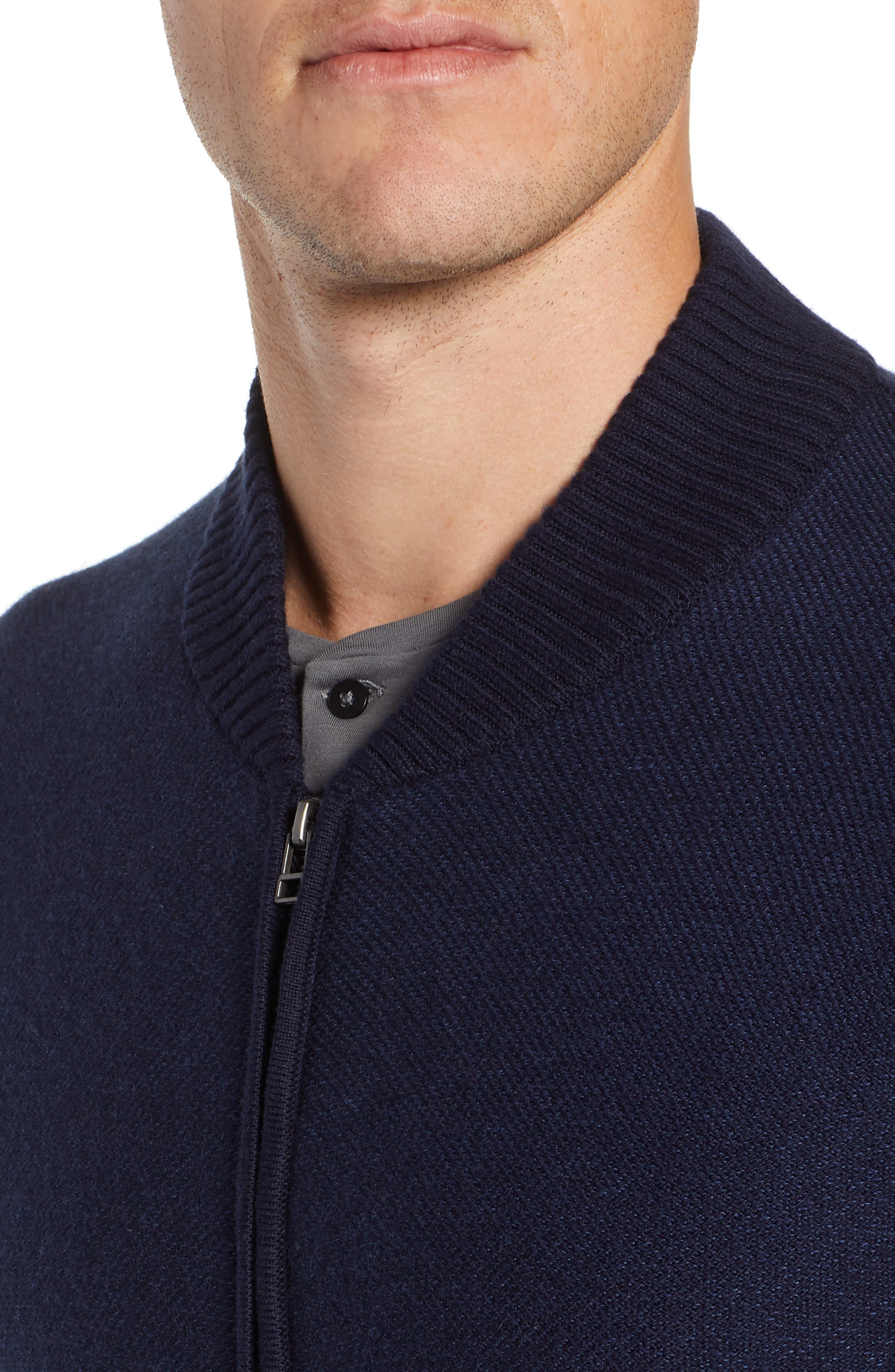Cotton & Cashmere Bomber Sweater,                             Alternate thumbnail 4, color,                             MIDNIGHT BLUE