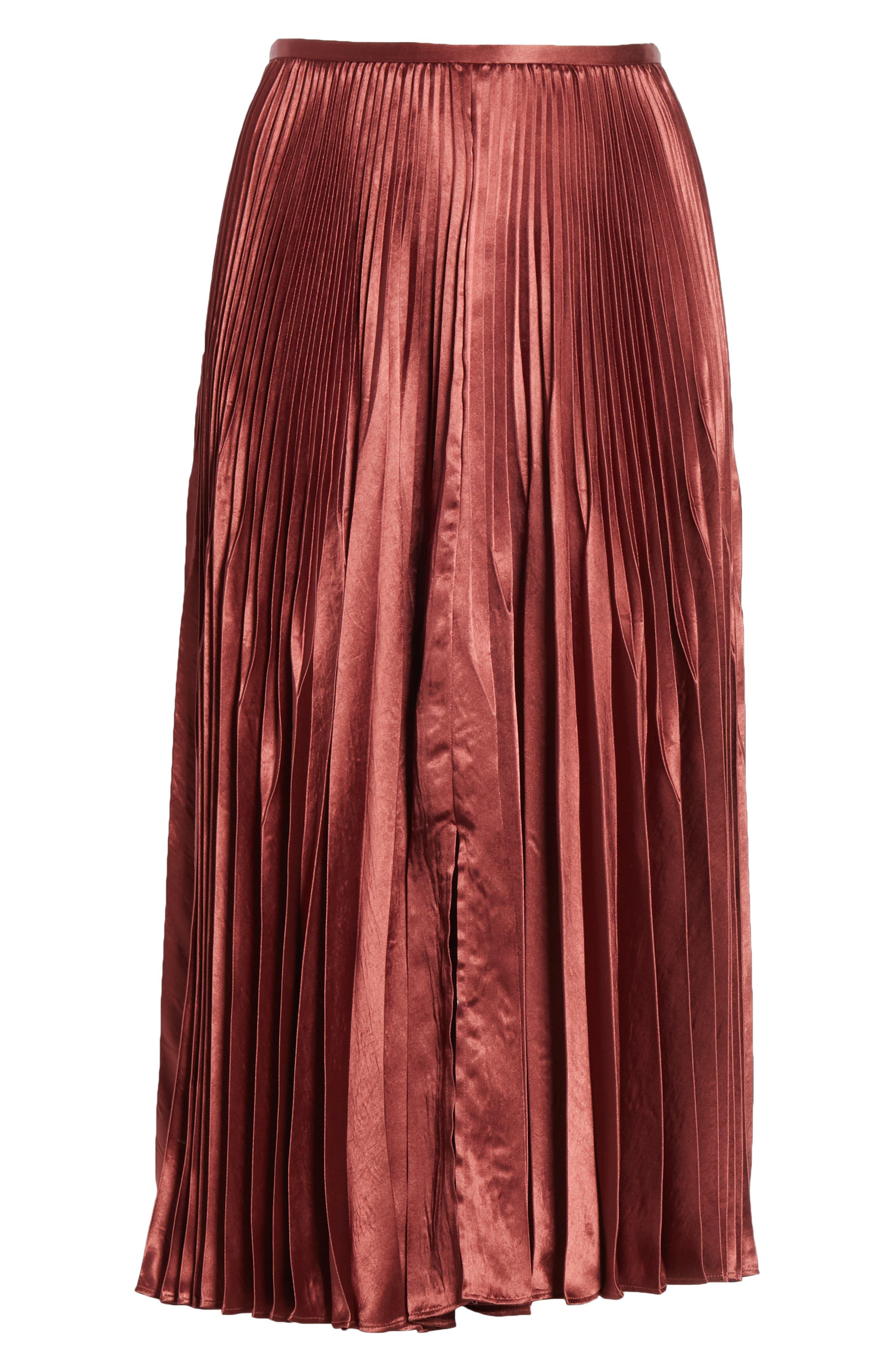 Chevron Pleated Satin Skirt,                             Alternate thumbnail 6, color,                             ANISE